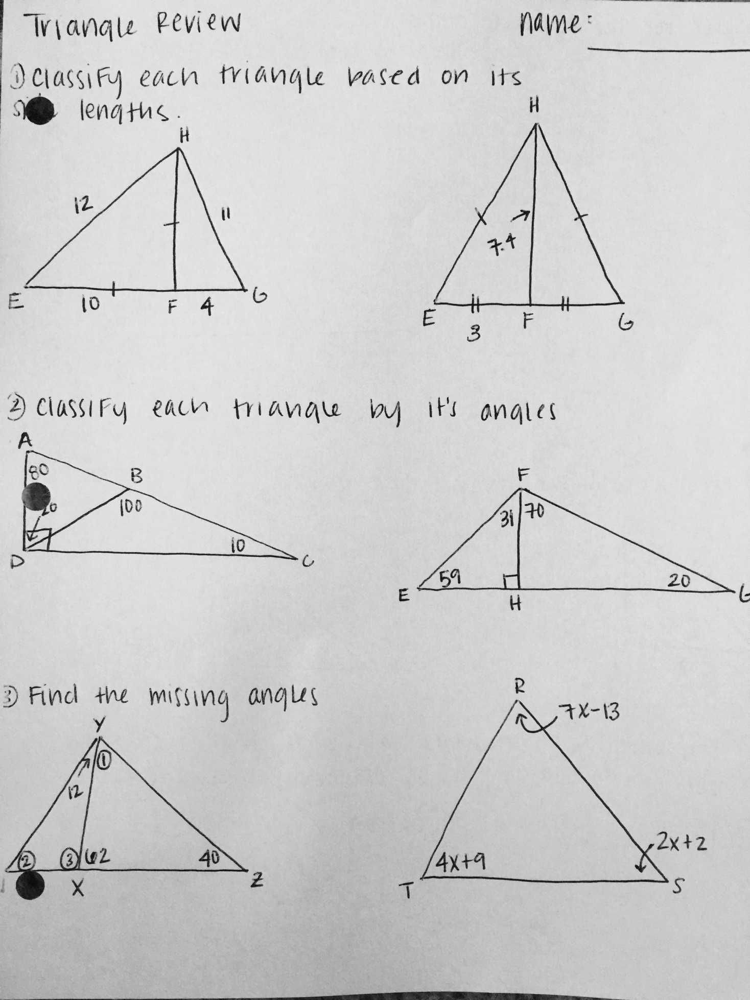 Find Missing Angle Worksheet