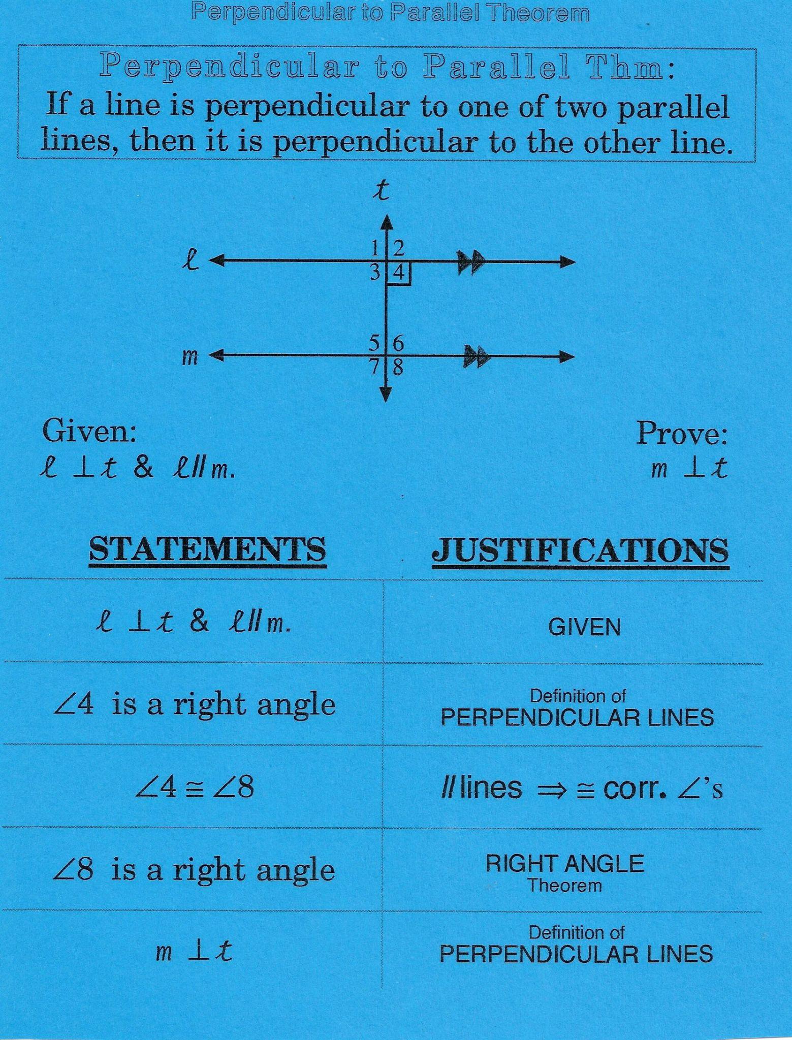 Geometry Parallel And Perpendicular Lines Worksheet