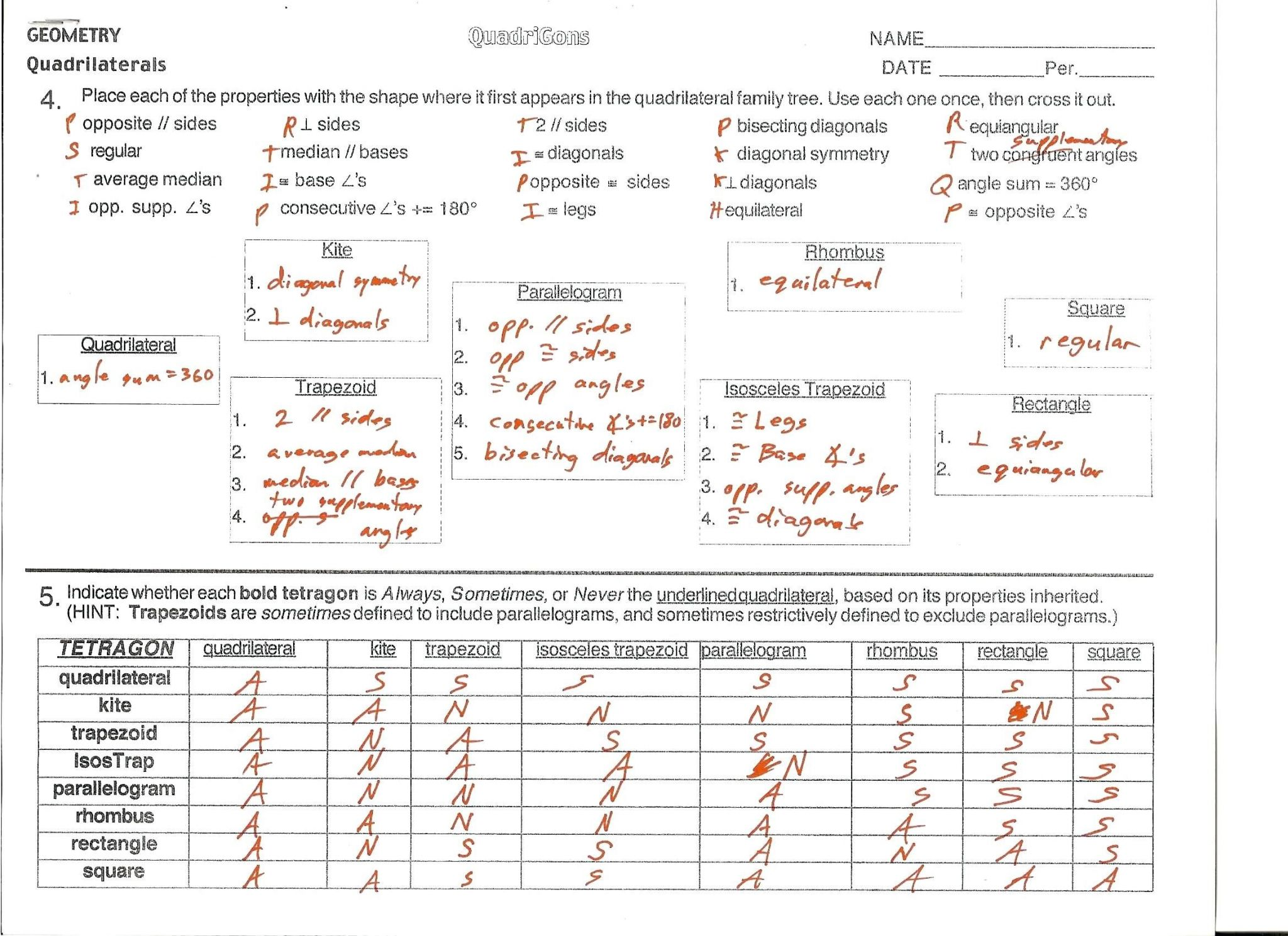 Geometry Review Worksheets