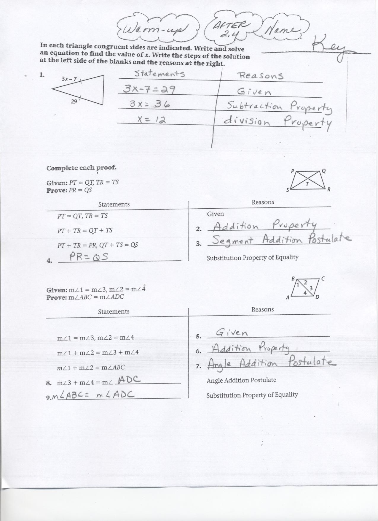 Geometry Segment And Angle Addition Worksheet Answers