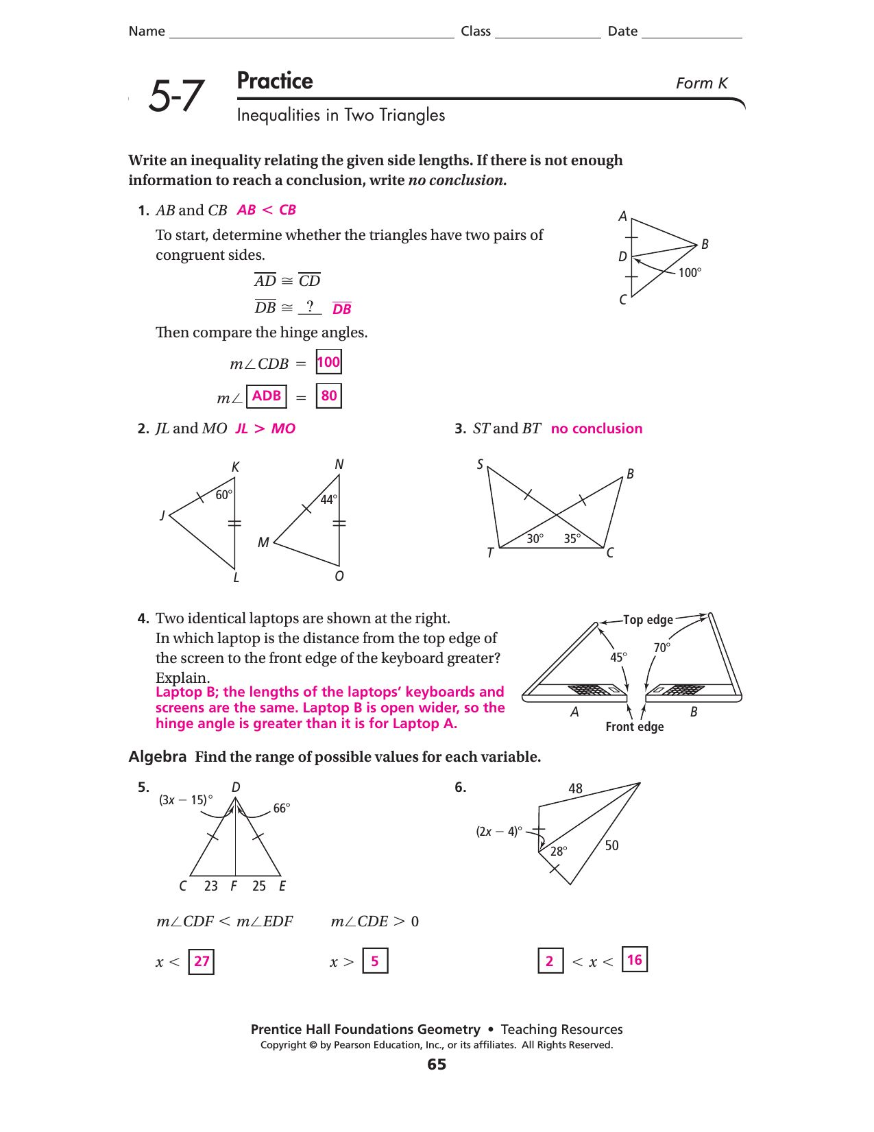 Prentice Hall Pre Algebra Worksheet