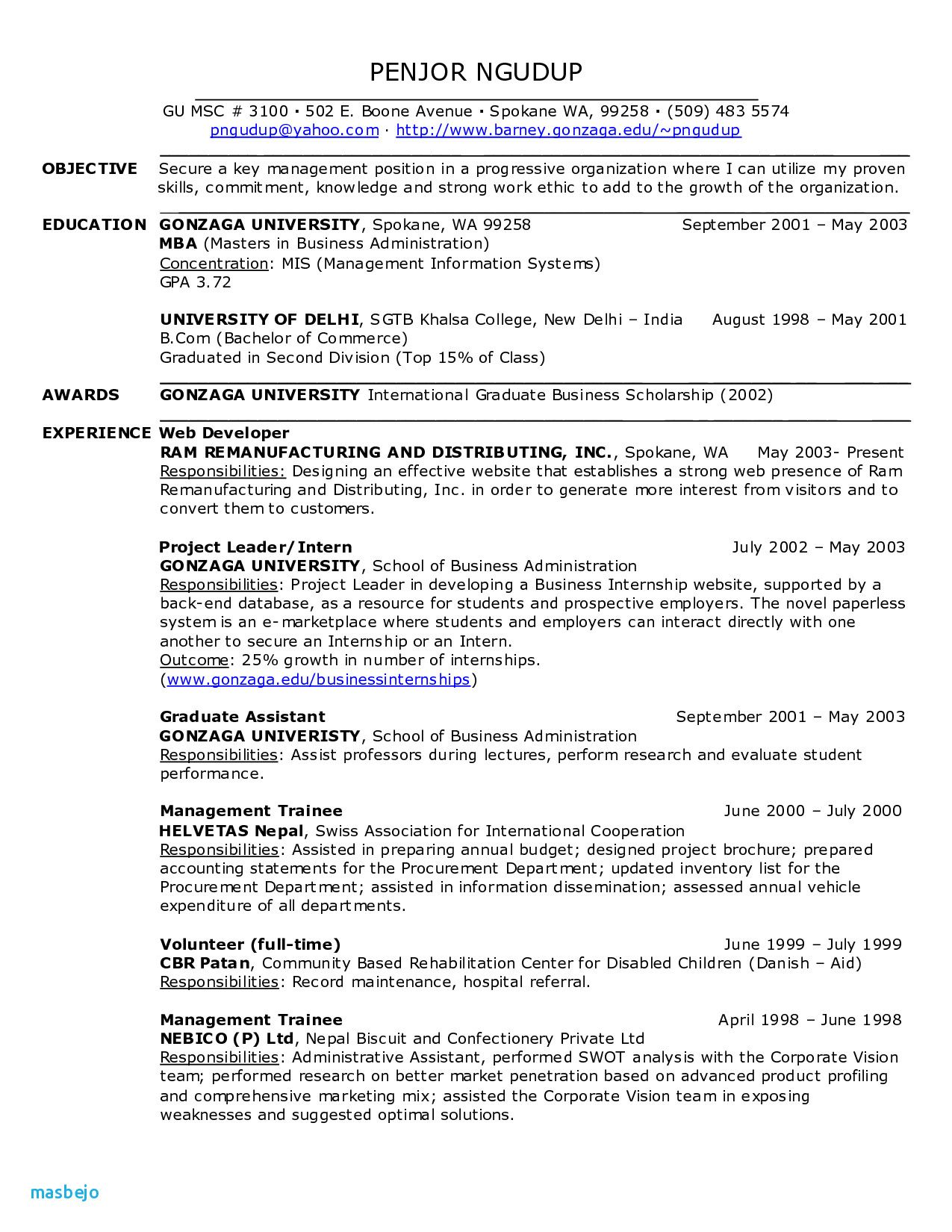 Gonzaga Degree Worksheets