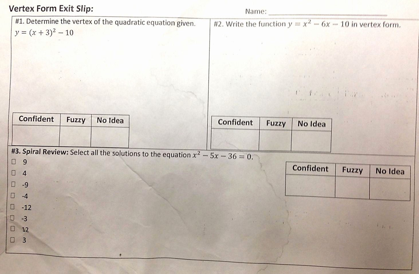 From Vertex Form To Standard Form Worksheet
