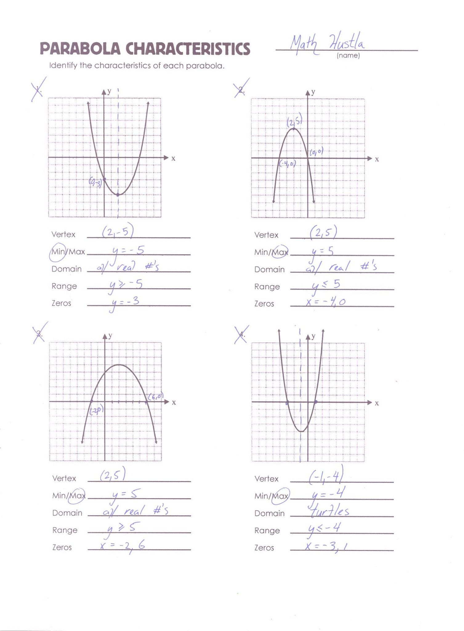 Cozy Graphing Parabolas Worksheets
