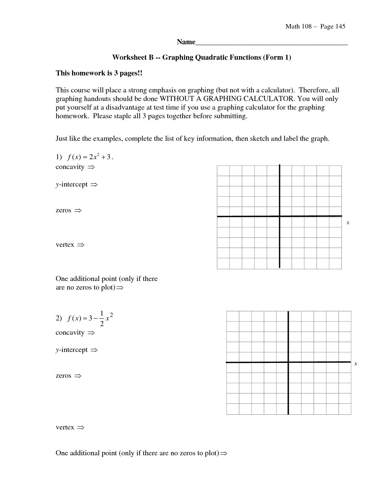 Graphing Quadratics Review Worksheet Answers Key