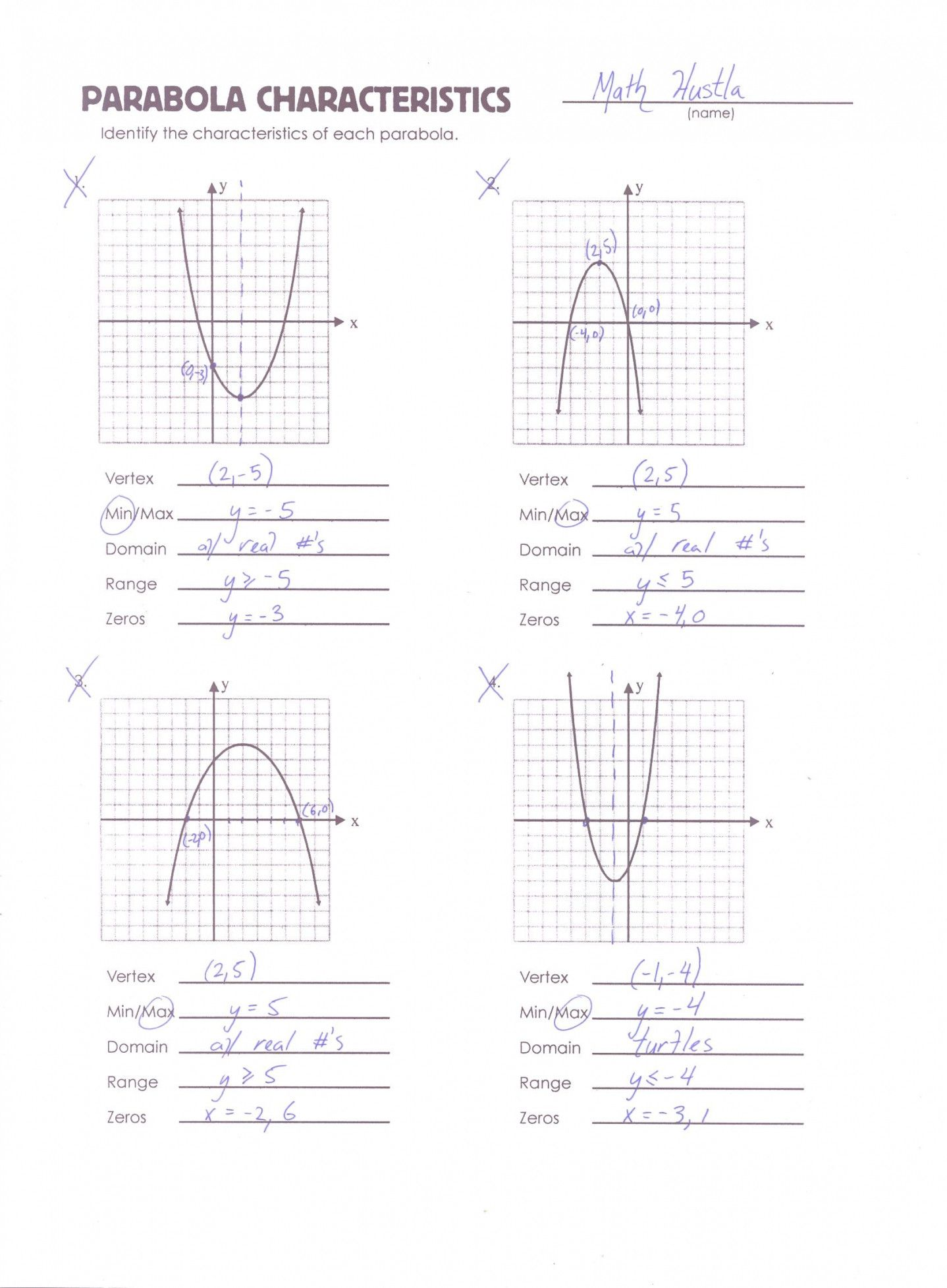 Graphing Quadratics Review Worksheet