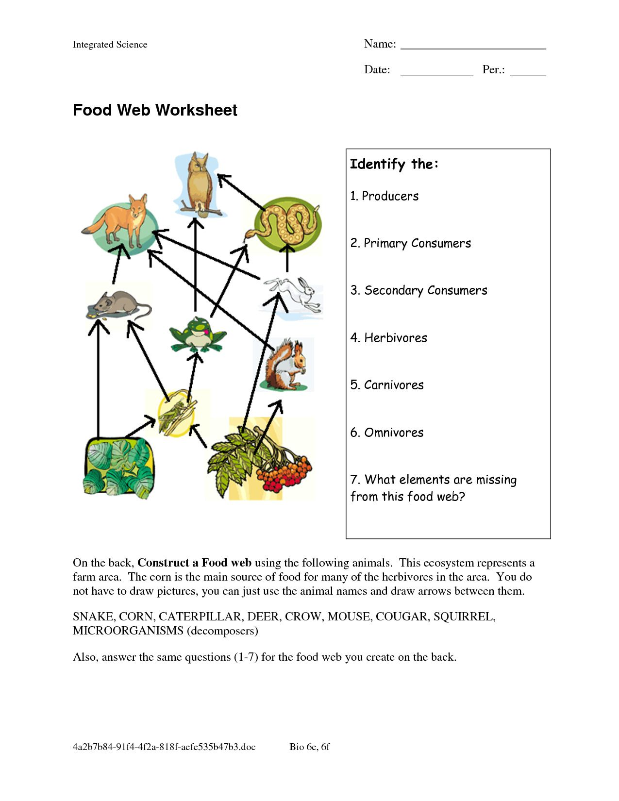 Healthy Eating Worksheets