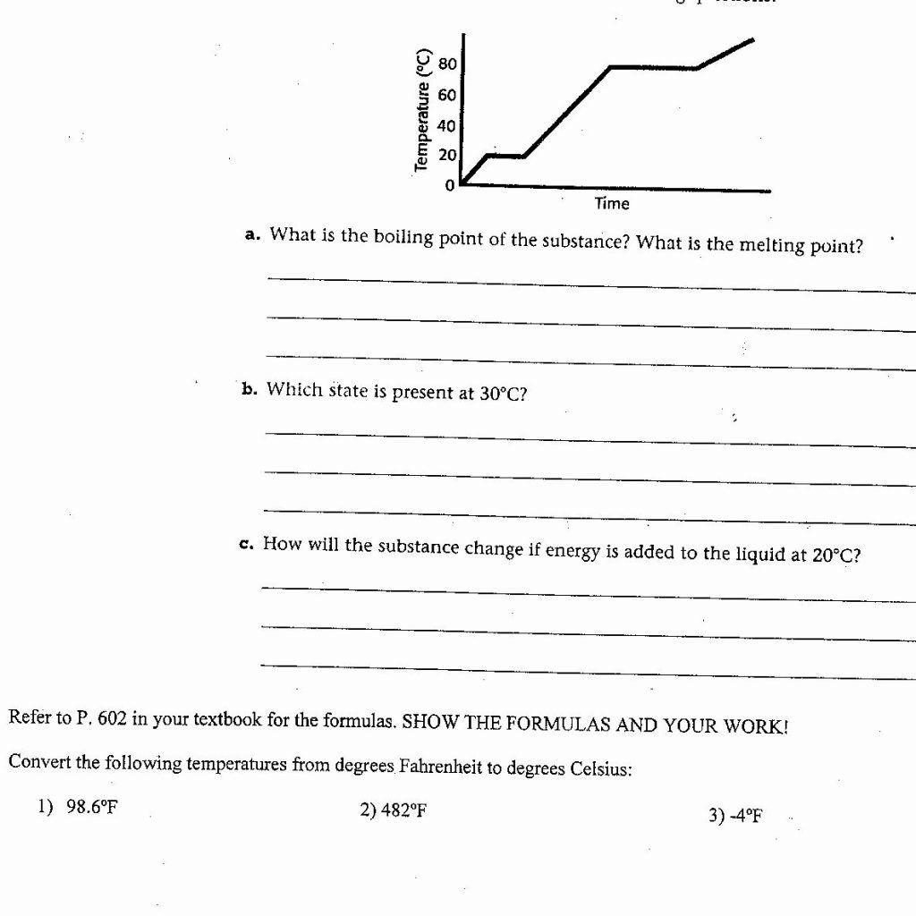 Heating Curve Worksheet Answer Key