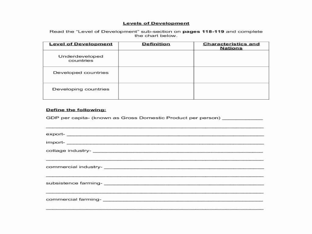 High School Economics Worksheets