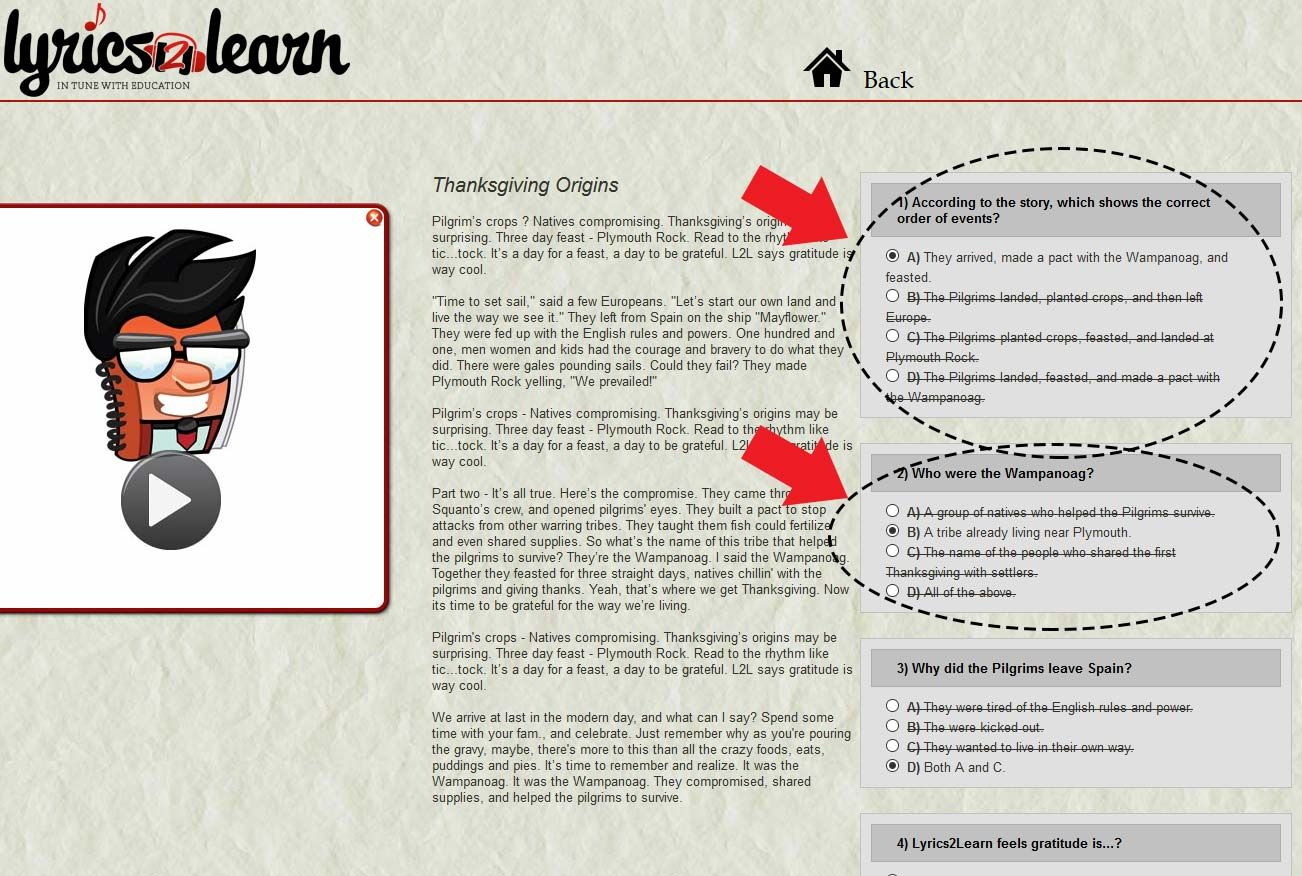 History Of Thanksgiving Reading Comprehension Worksheets