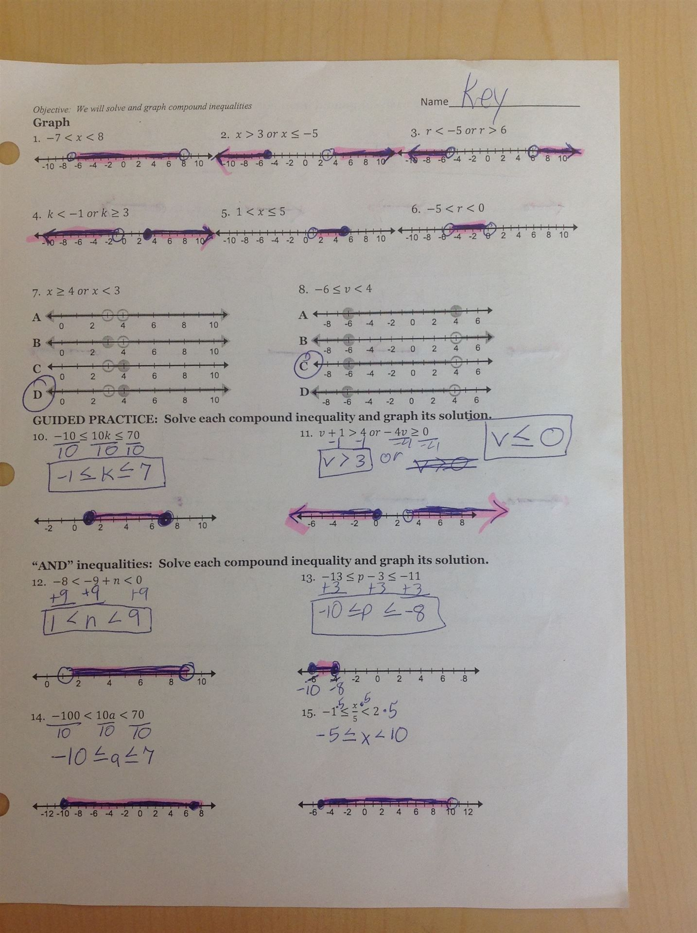 Independent Practice Worksheet Answers