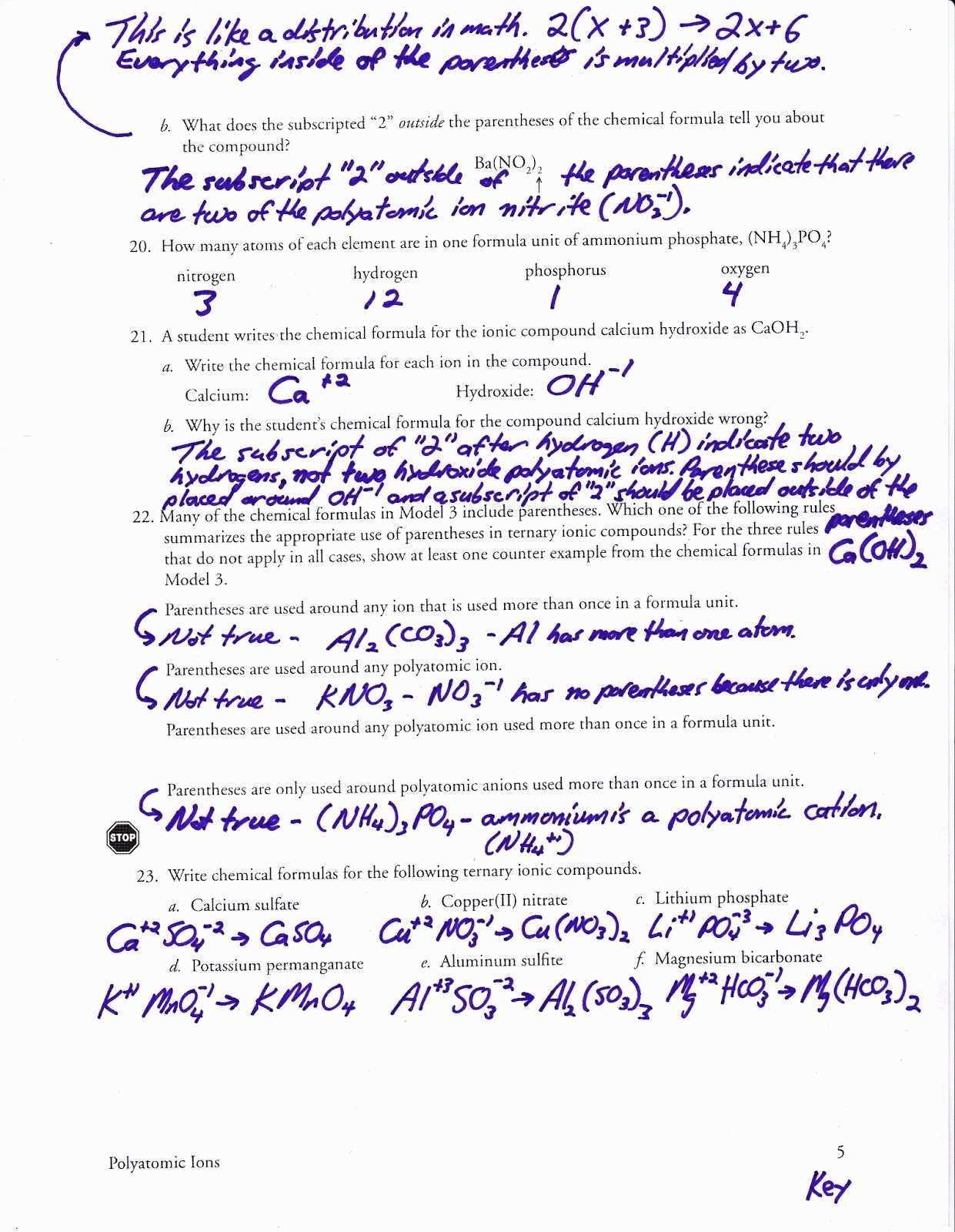 Ionic Compounds Worksheet Answers