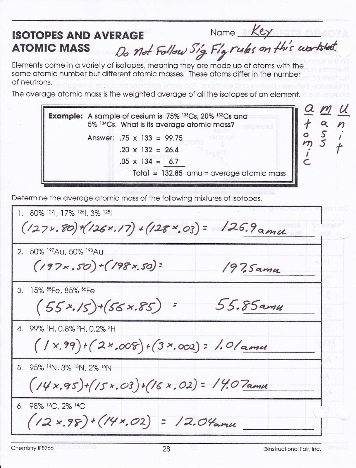 Isotopes And Atomic Mass Worksheet Answer Key