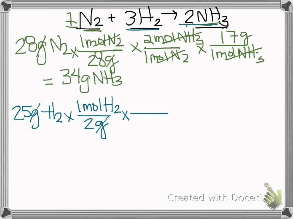 Limiting Reactant Problems Worksheet