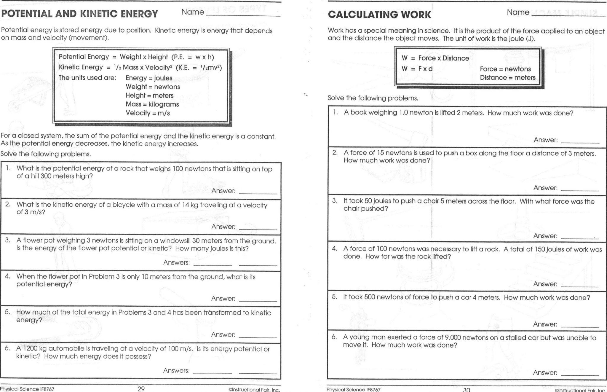 Energy Conversion Worksheet Answers