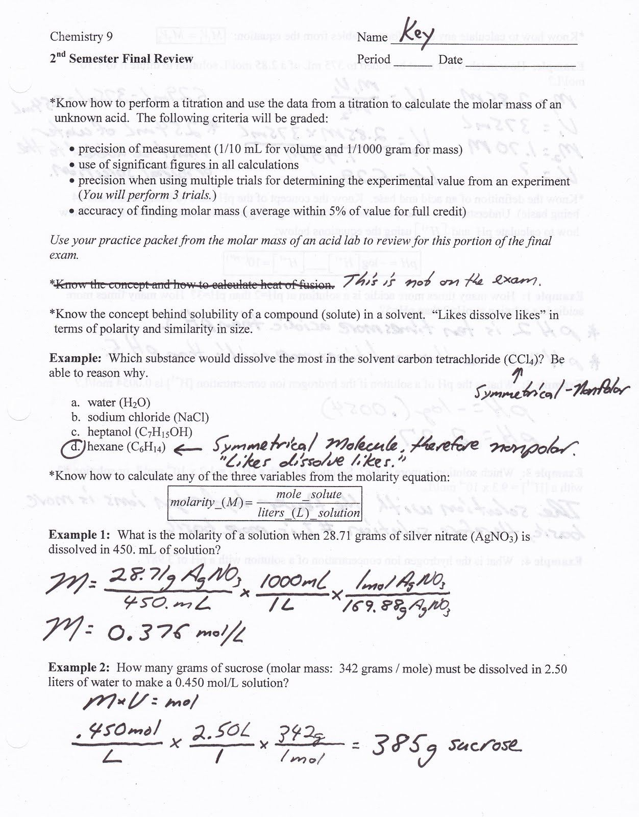 Molar Mass Practice Worksheet Answer Key