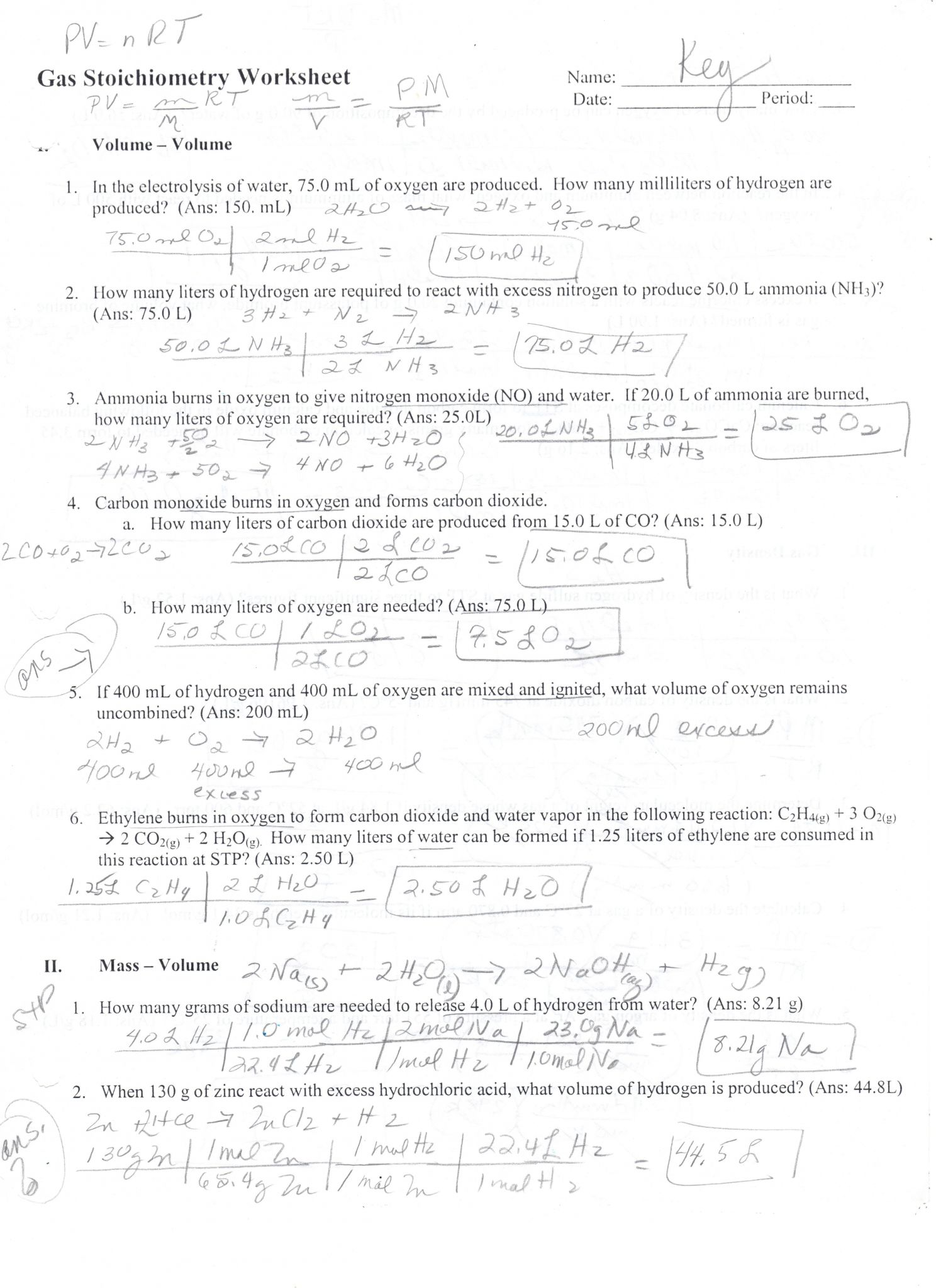 Molar Mass Worksheet Answer Key