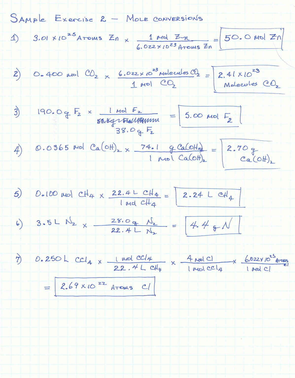 Molar Mass Worksheet With Work