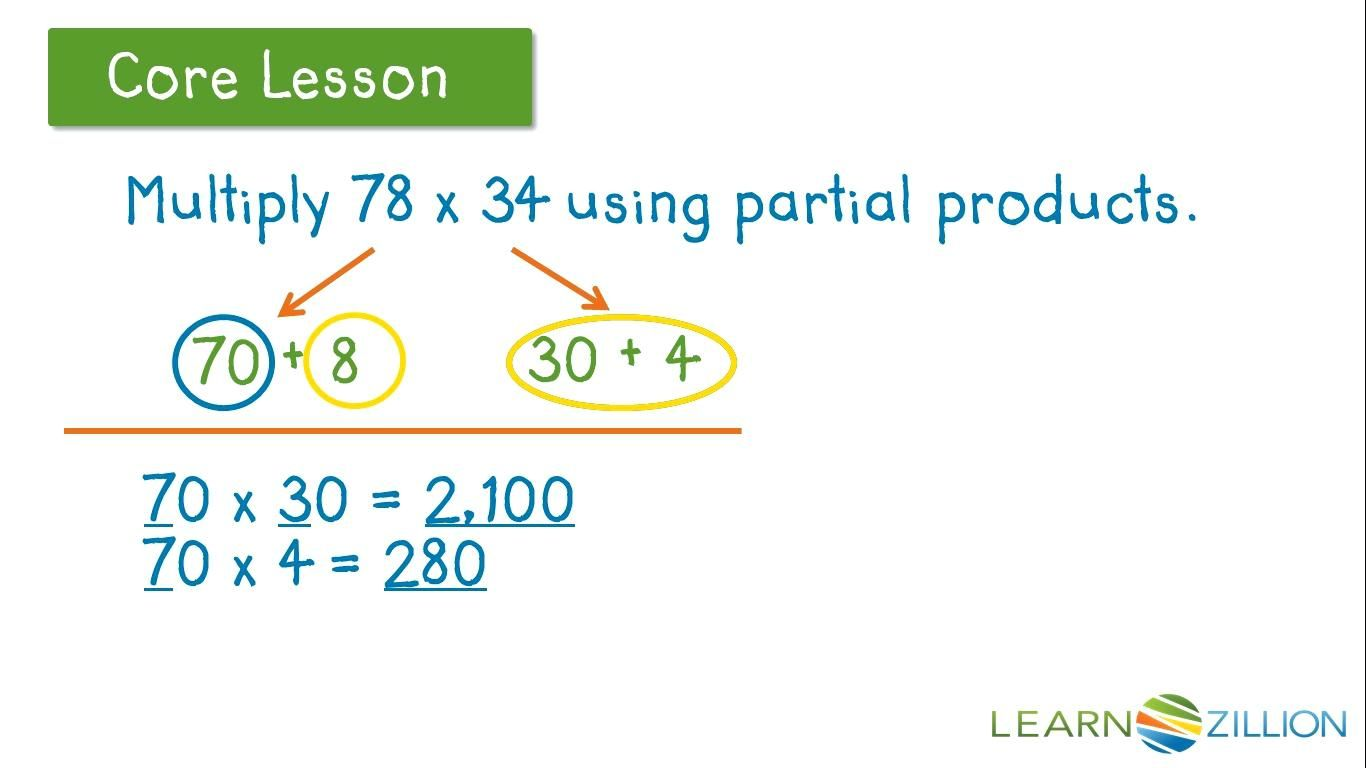 Multiply Using Partial Products 4th Grade Worksheets