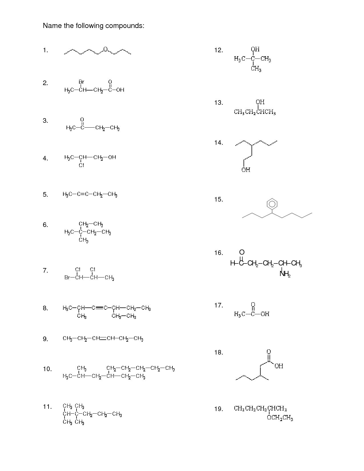 Naming Compounds Worksheet