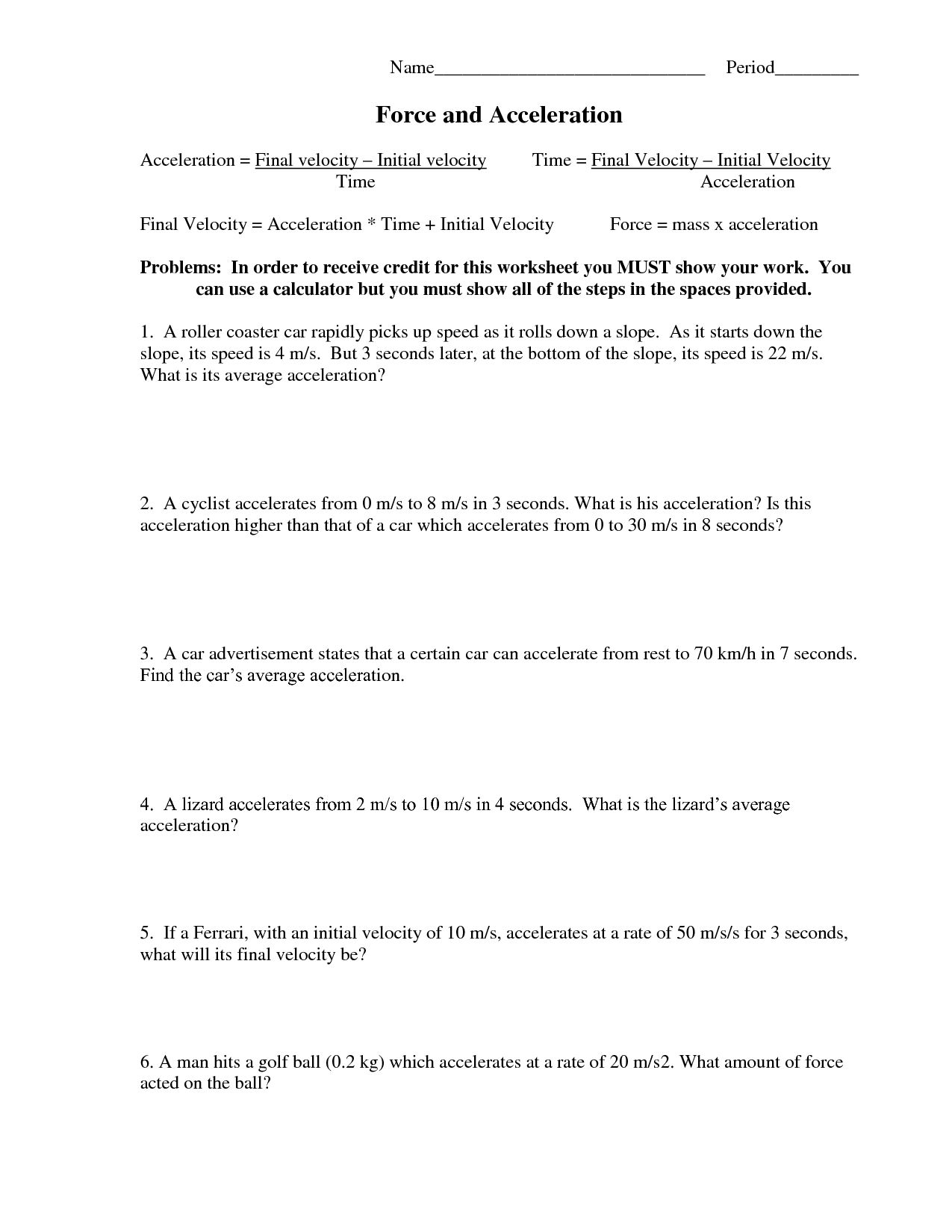 Net Force And Acceleration Worksheet Answers Briefencounters