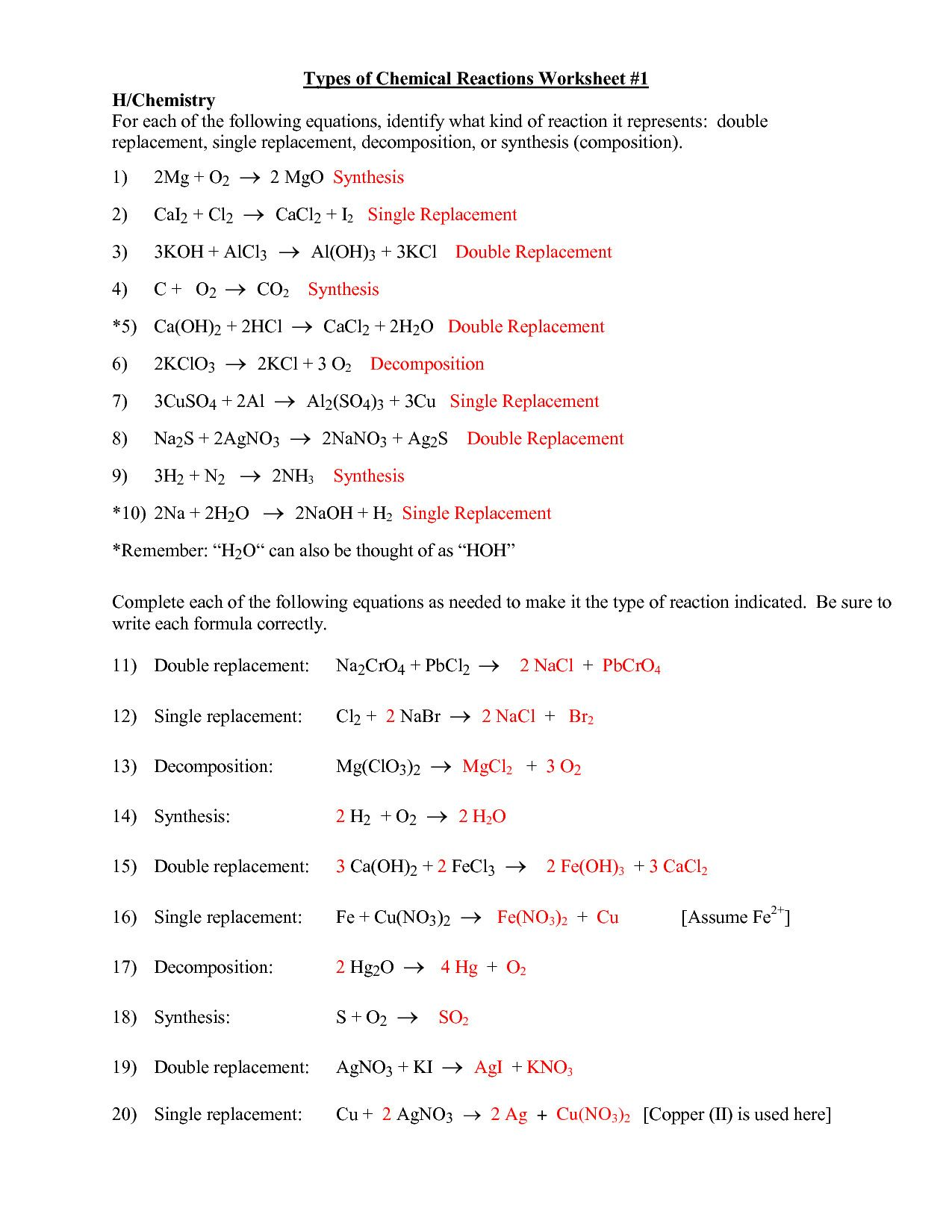 Classic Chembalancer Worksheet Answers