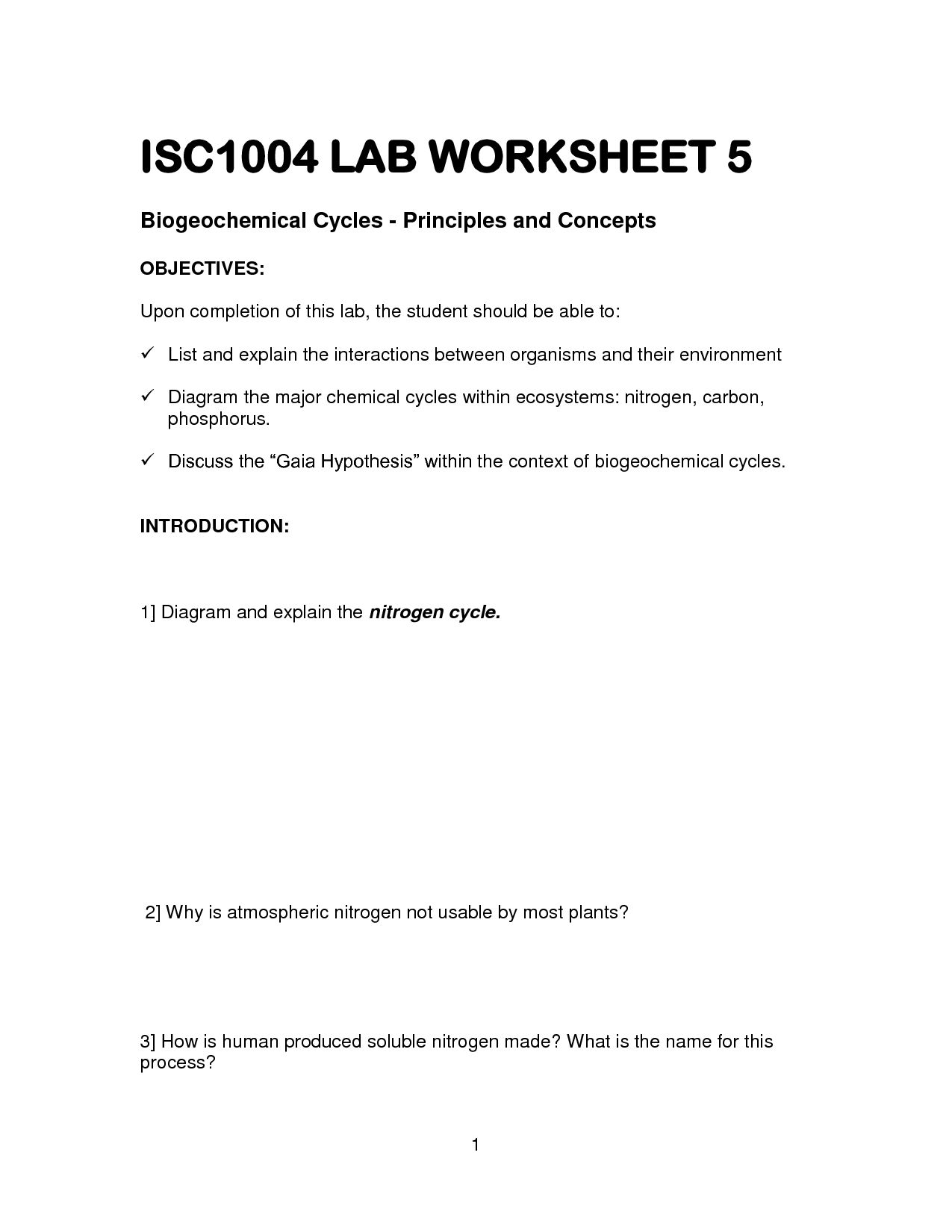 Nitrogen Cycle Worksheet Answer Key