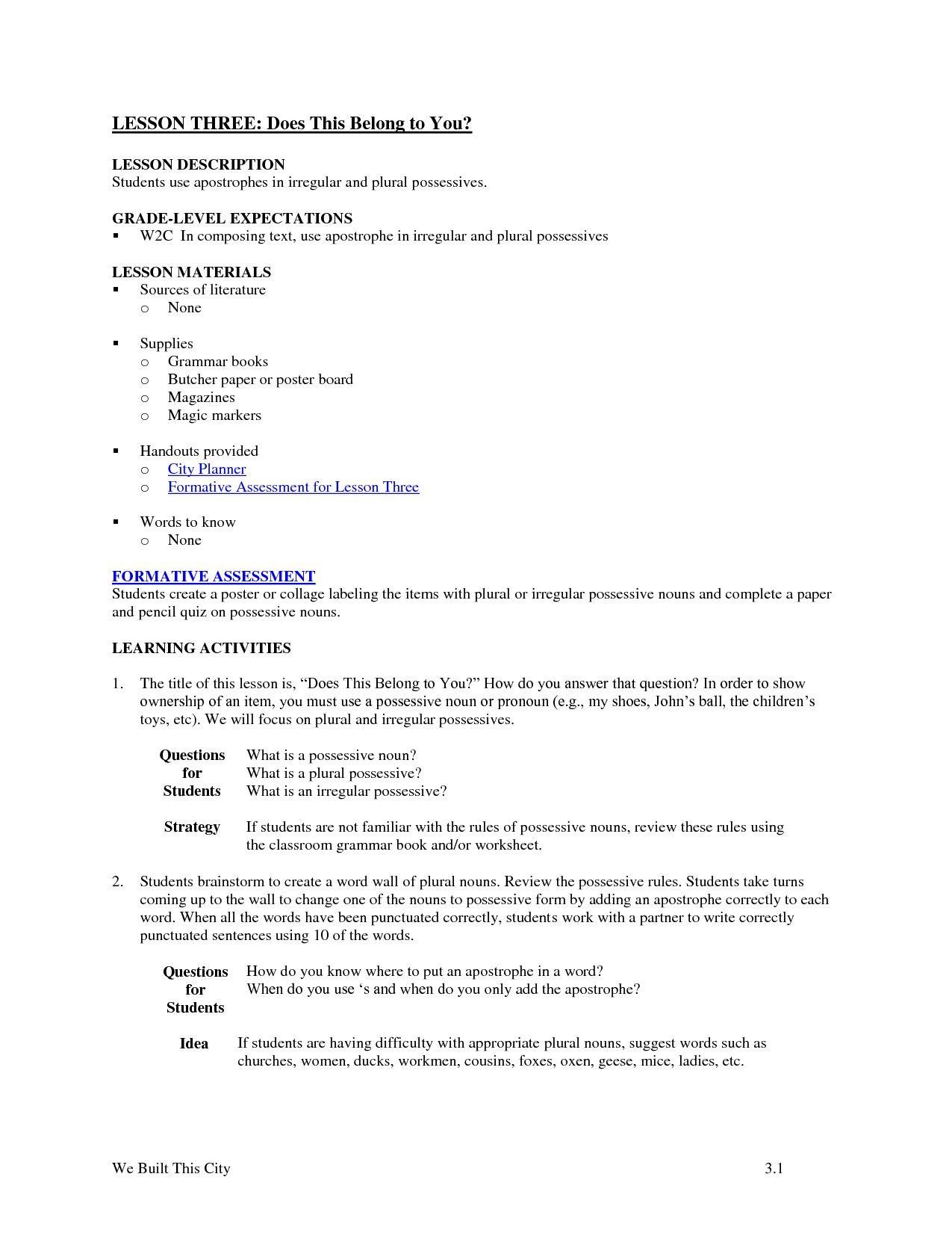 Nouns Worksheet 2nd Grade