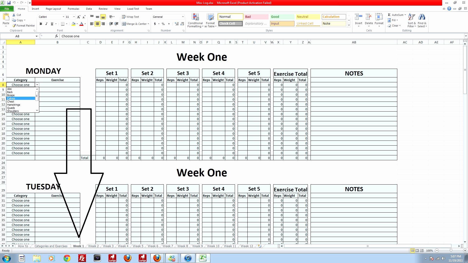 P90x Back Worksheets