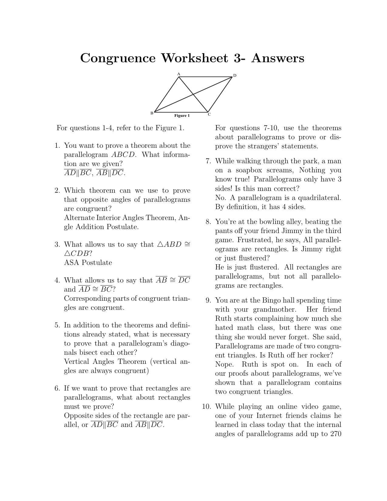 Parallelogram Proofs Worksheet