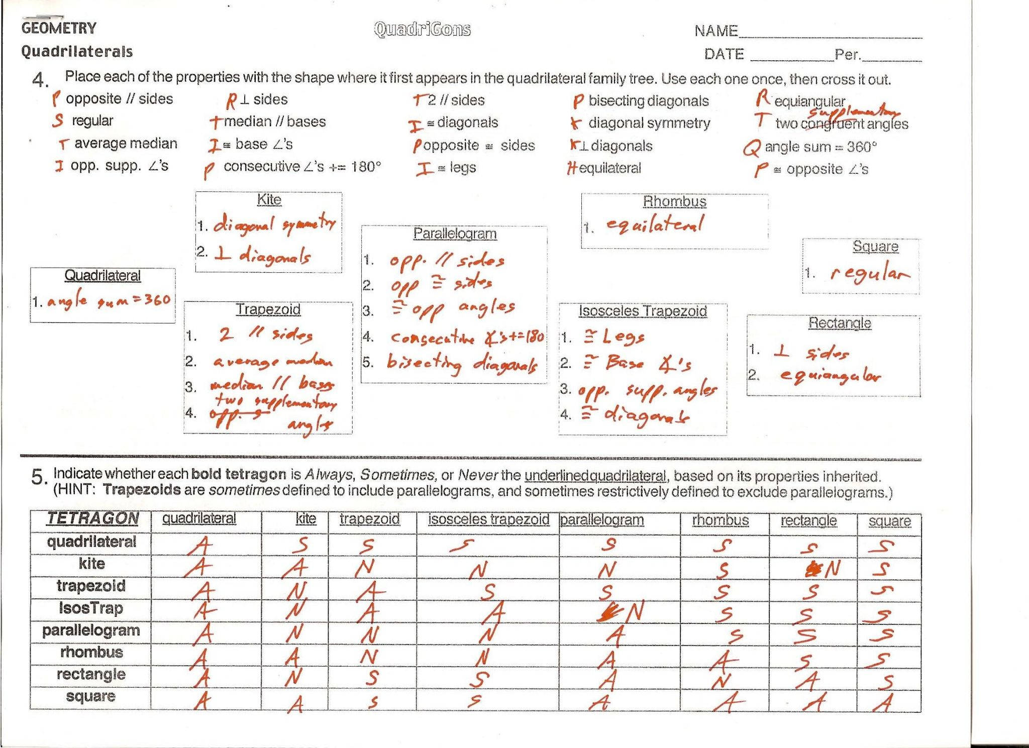 Parallelogram Proofs Worksheet With Answers