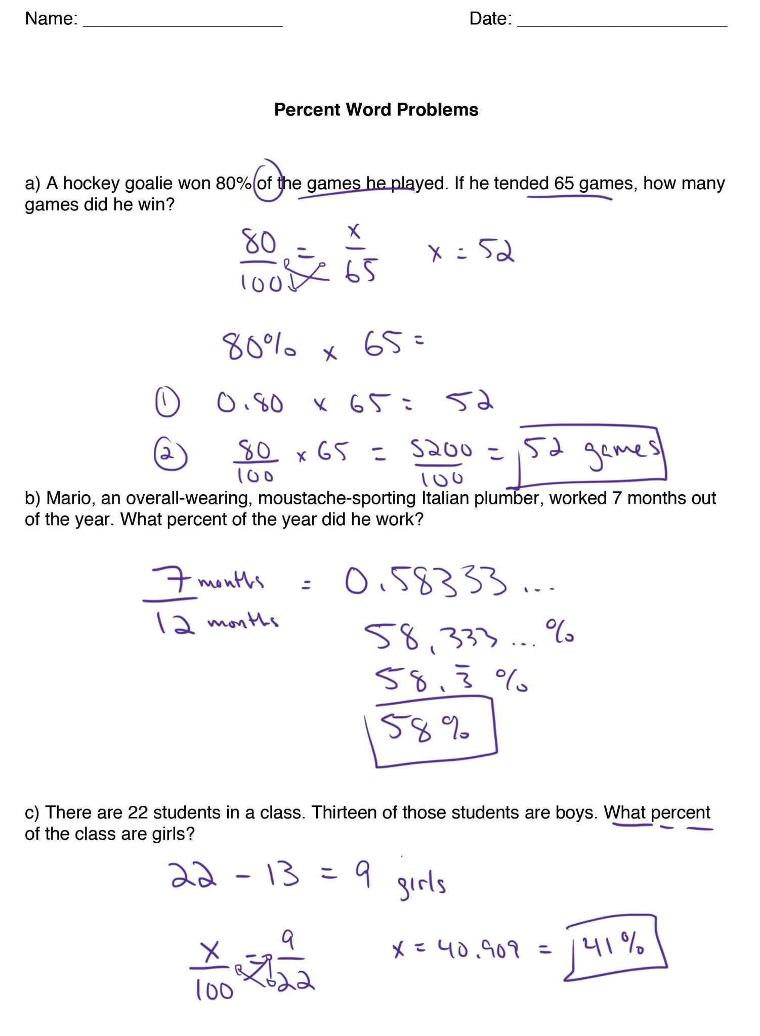 Percent Word Problem Worksheet