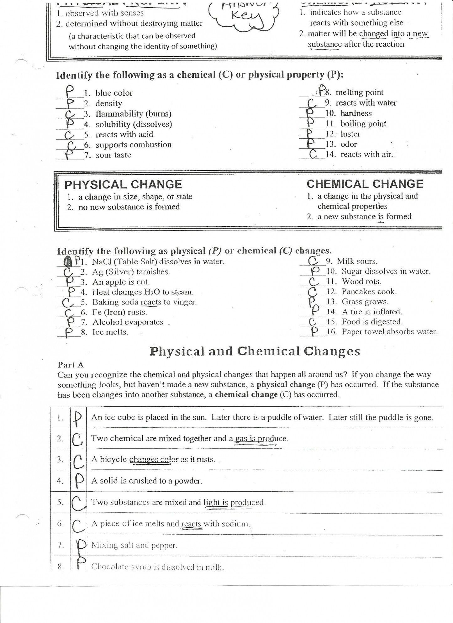 Chemistry Chapter 2 Matter And Change Worksheet Answers