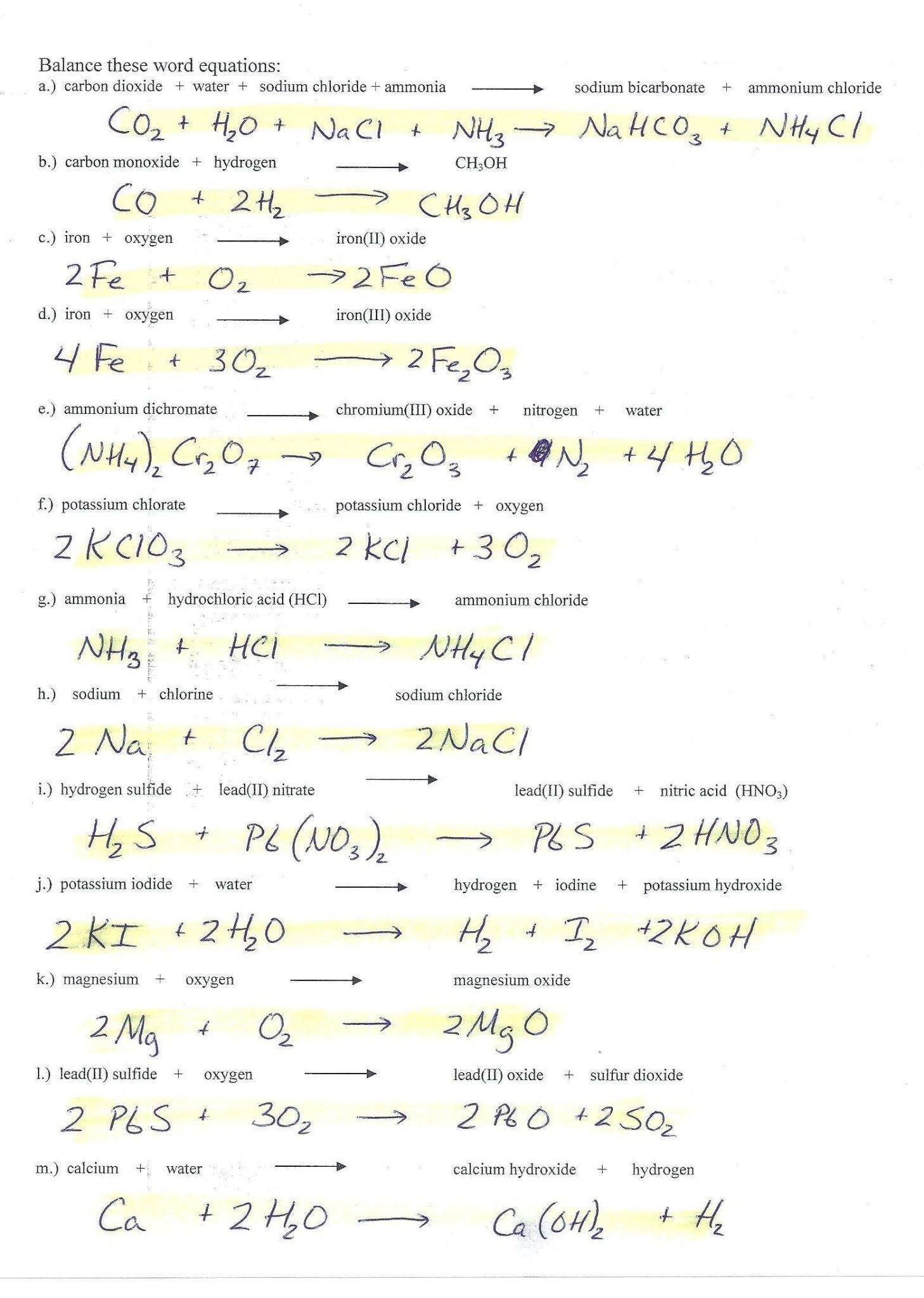 Physical Science Worksheets And Answers