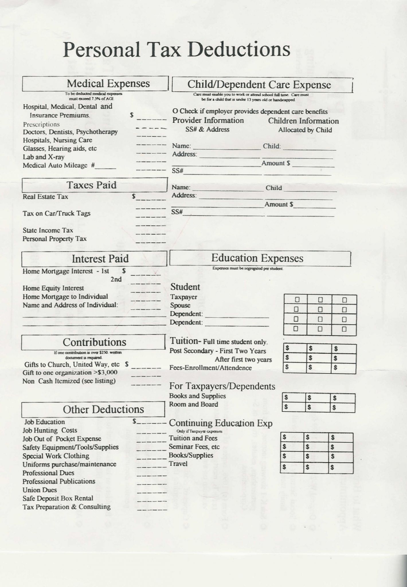 Police Officer Tax Deductions Worksheet
