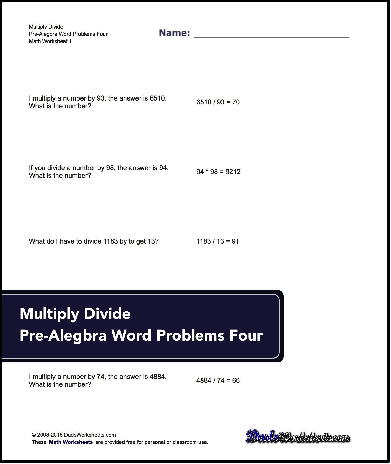 Pre Algebra Practice Worksheets