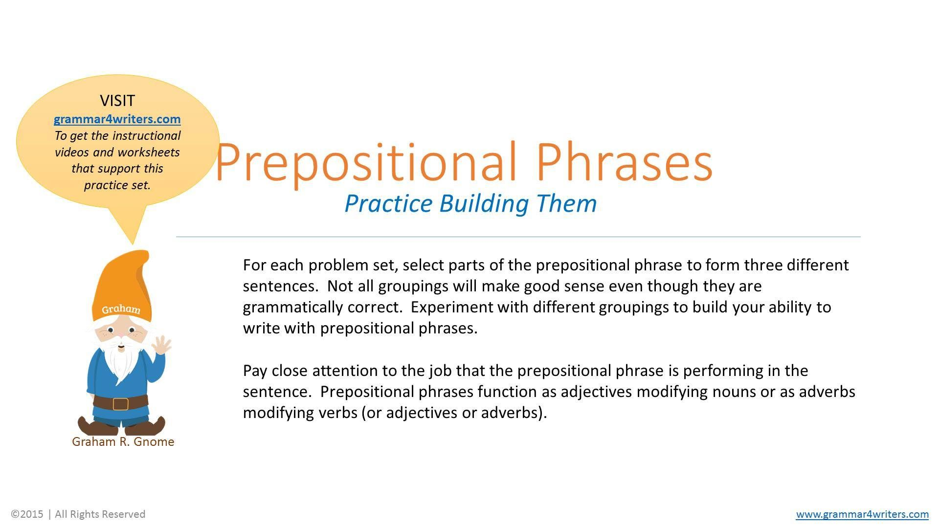 Prepositional Phrases Worksheet With Answer Key