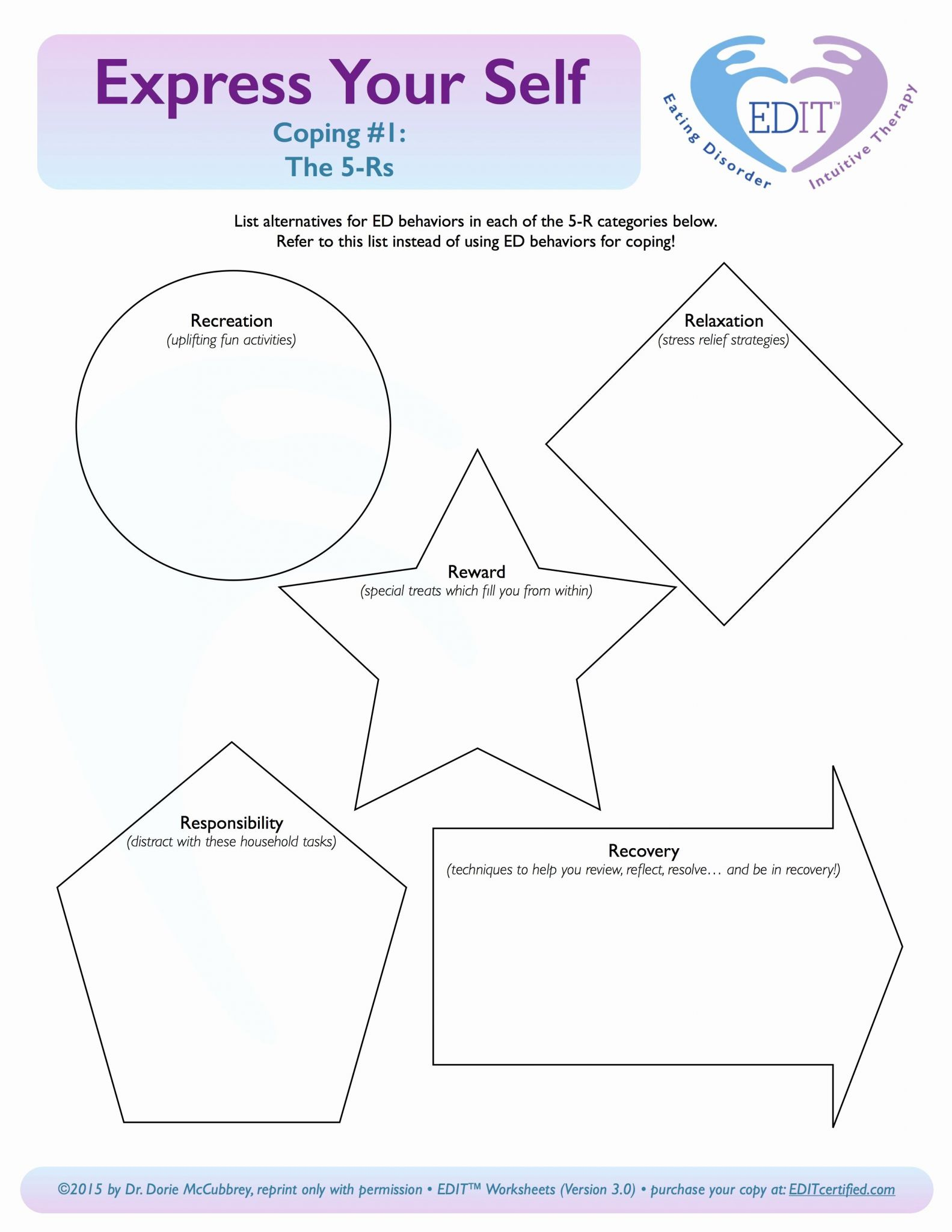 Printable Coping Skills Worksheets