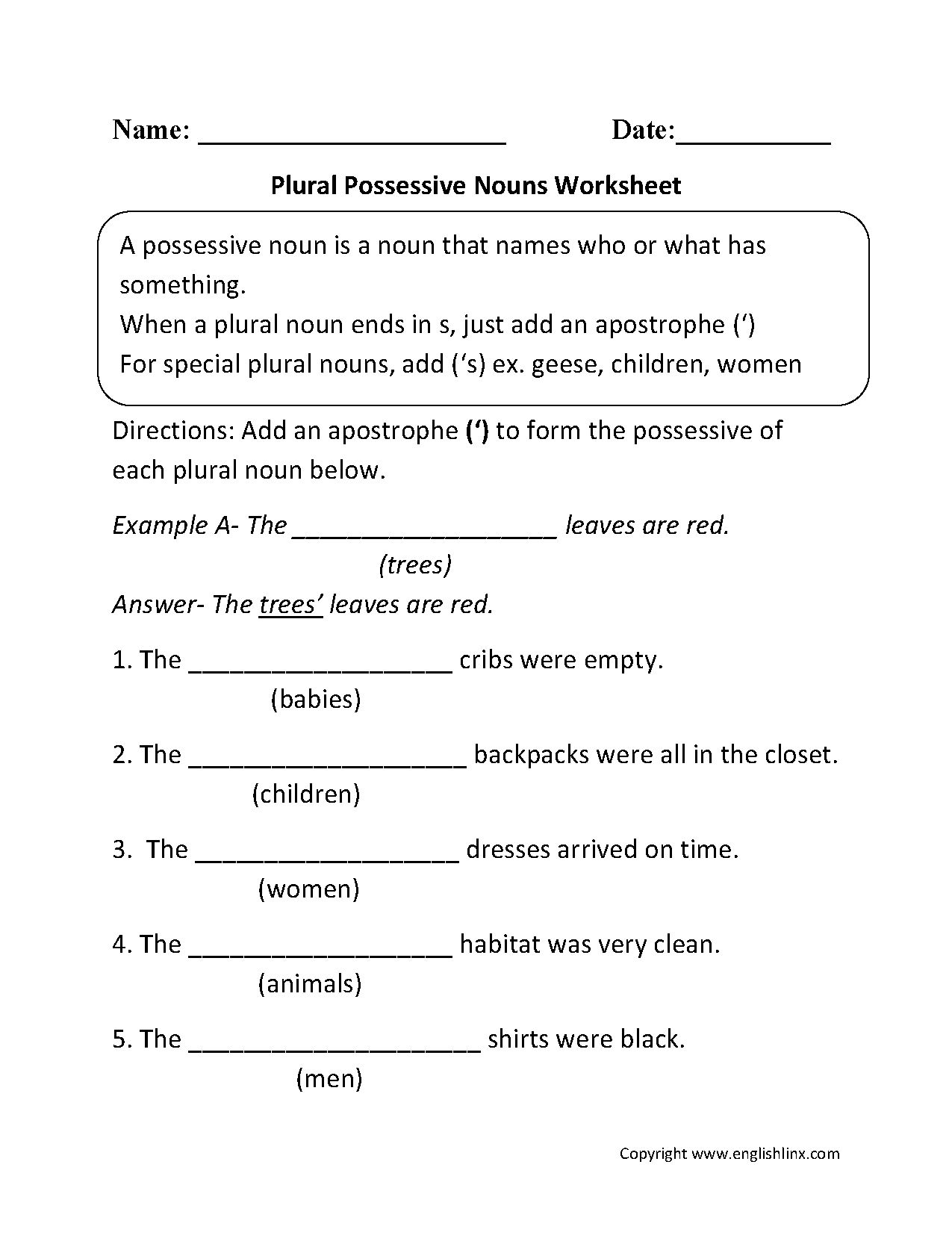 6th Grade Pronouns Worksheet