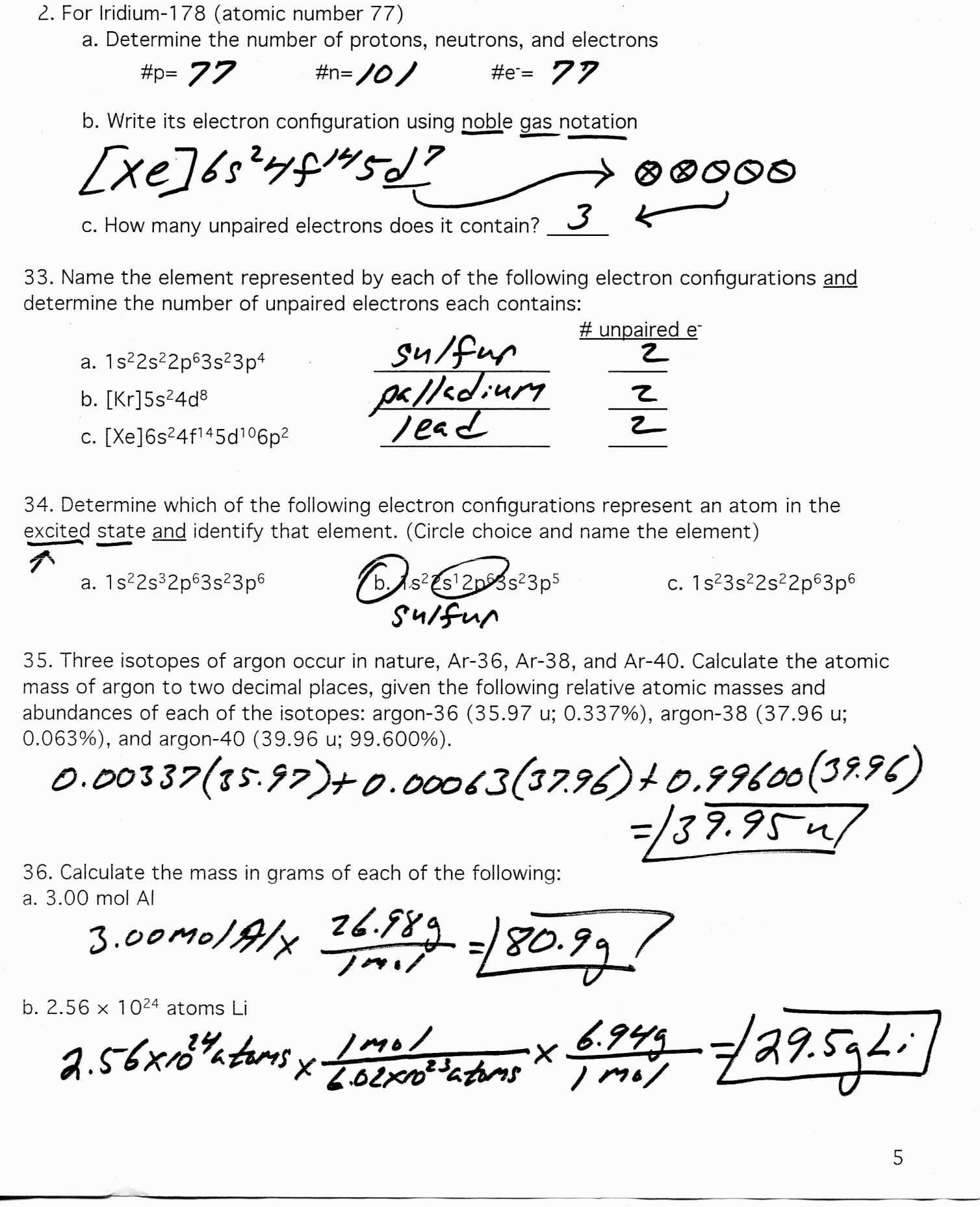 Worksheet Electron Configuration