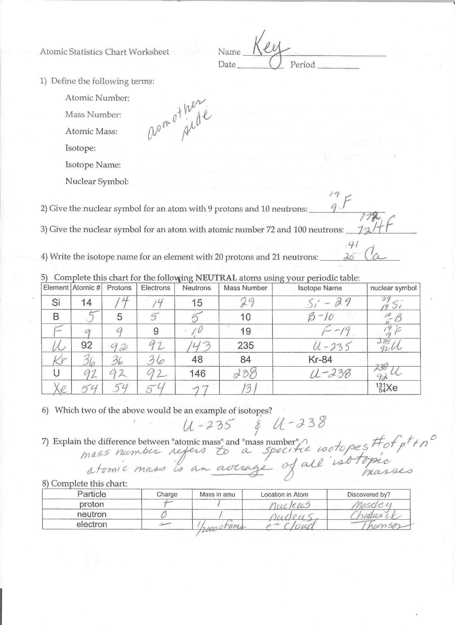 Protons Neutrons And Electrons Worksheet Answer Key