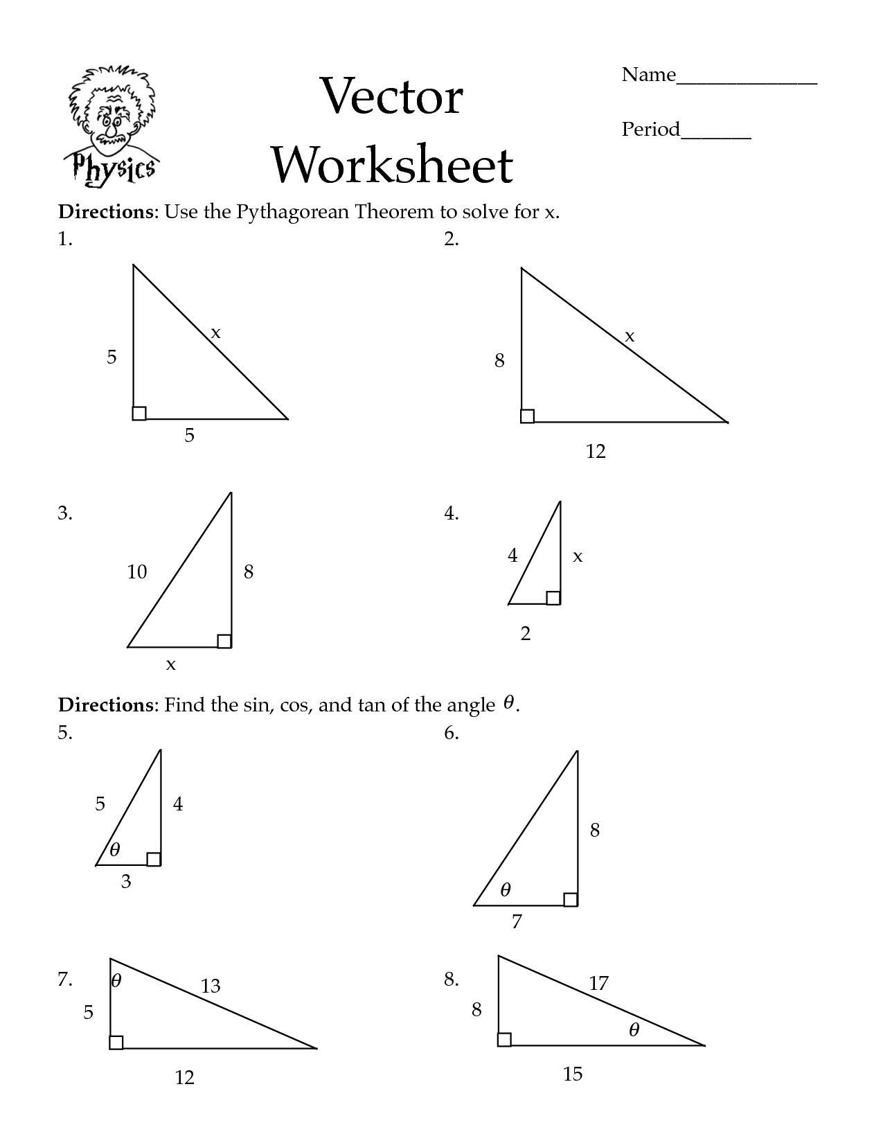 Pythagorean Theorem Coloring Worksheet