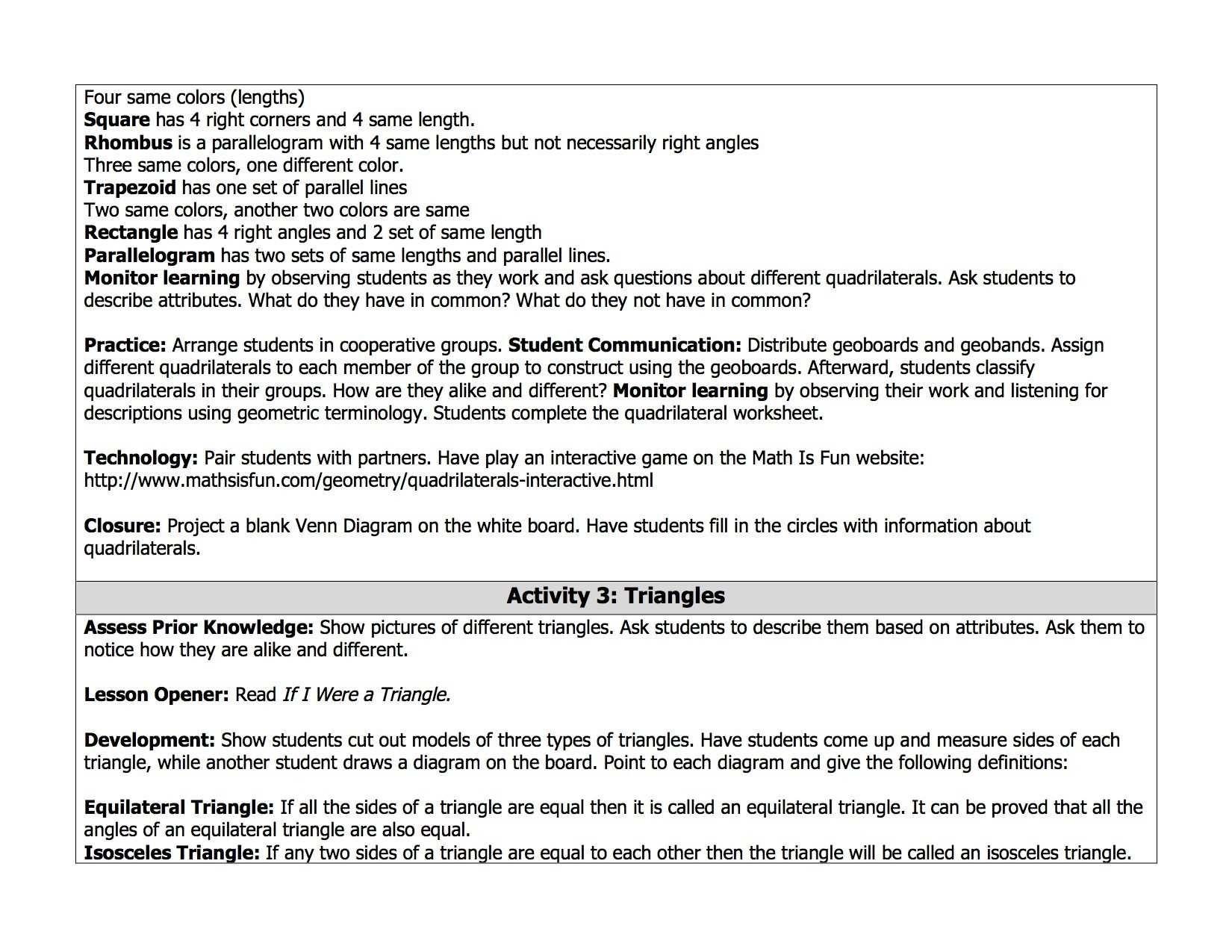 Quadrilaterals 3rd Grade Worksheets