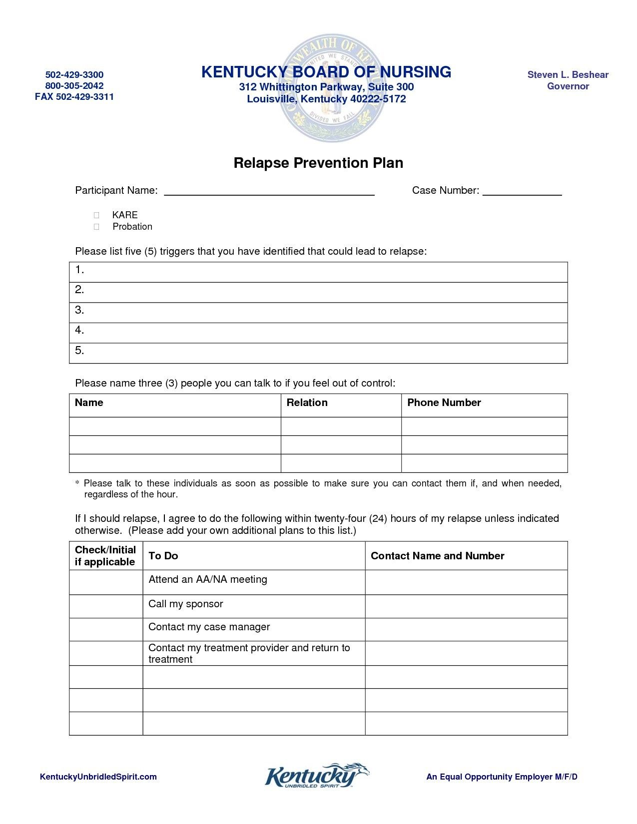Relapse Prevention Plan Worksheet Template