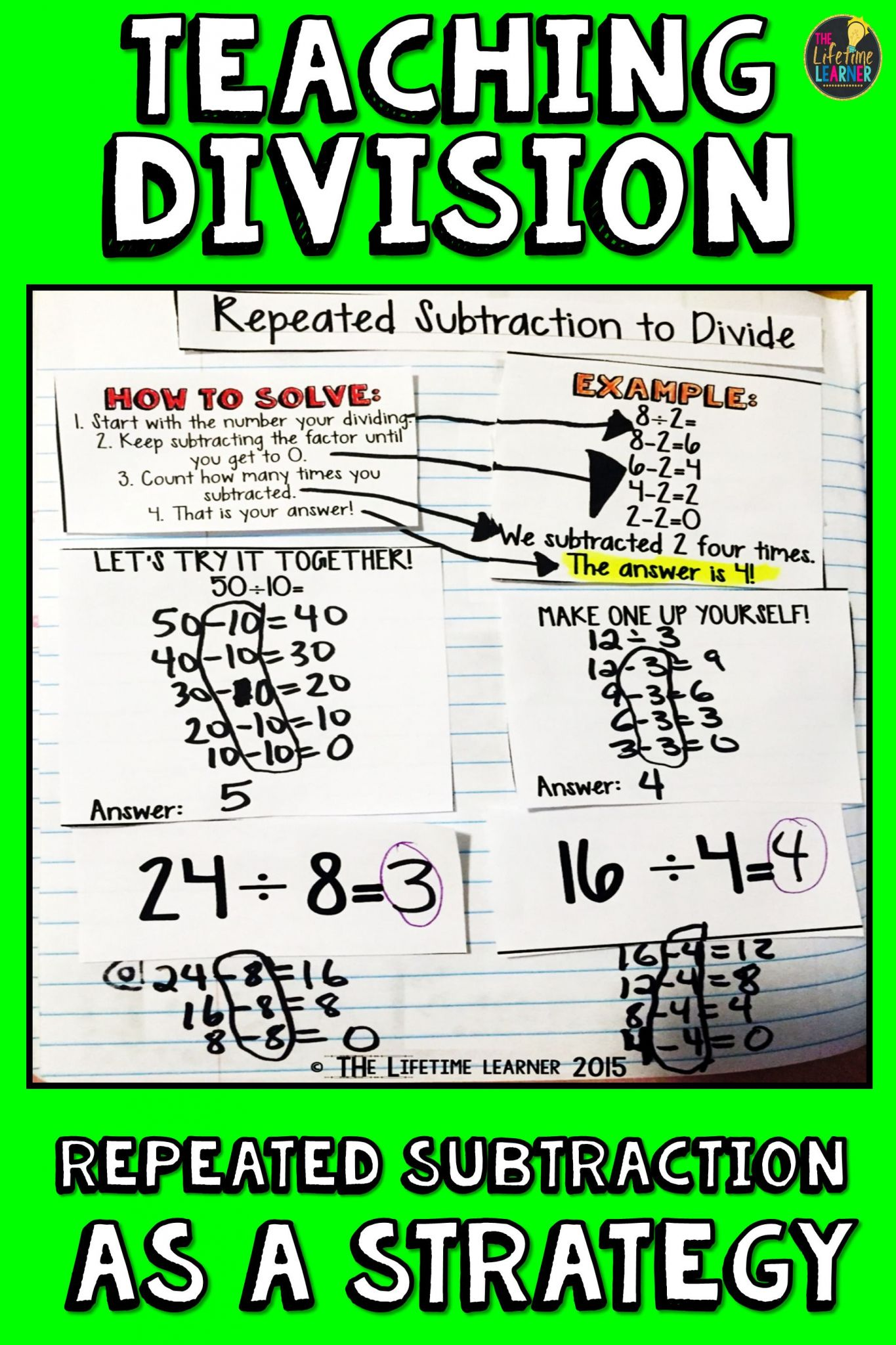 Repeated Subtraction Worksheets