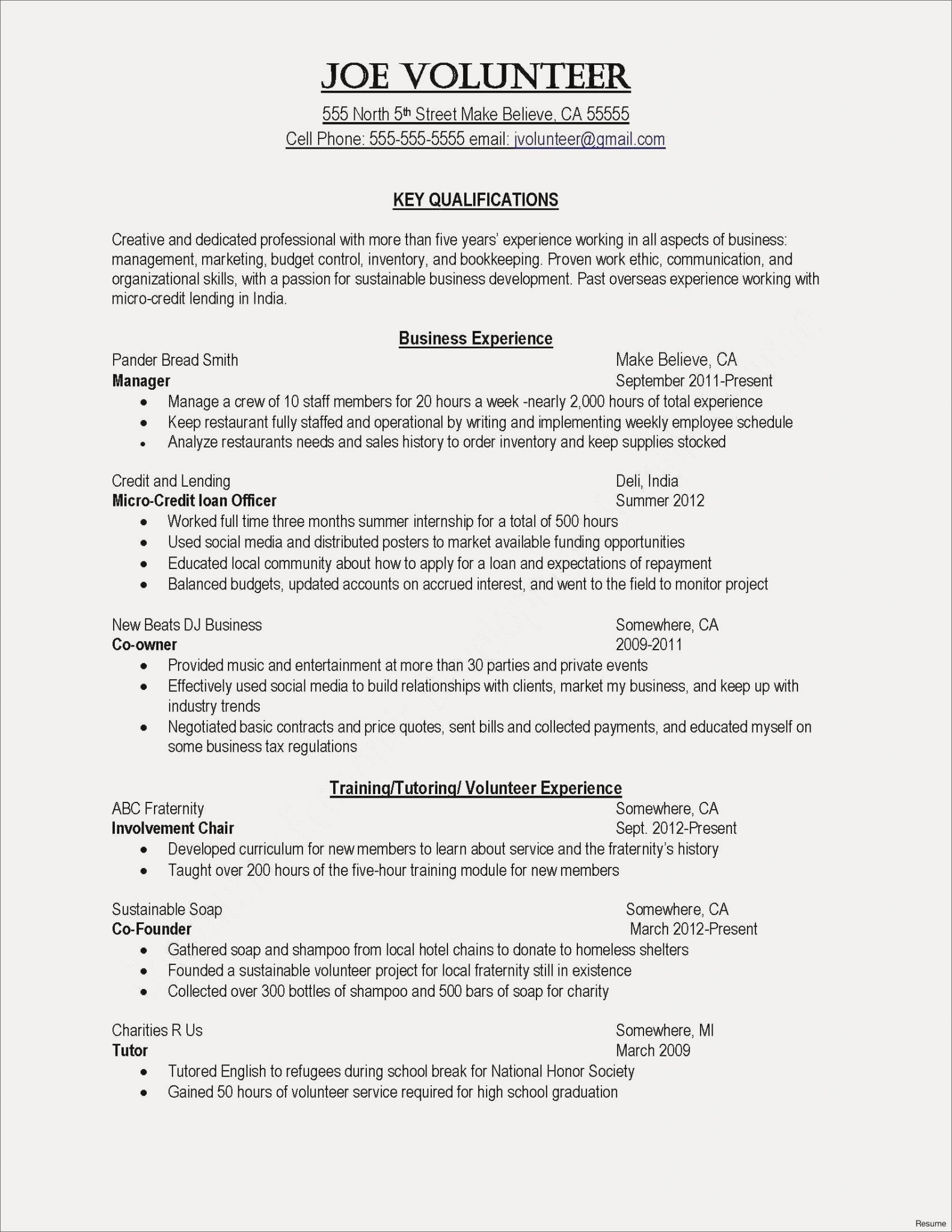 Resume Worksheet For High School Students