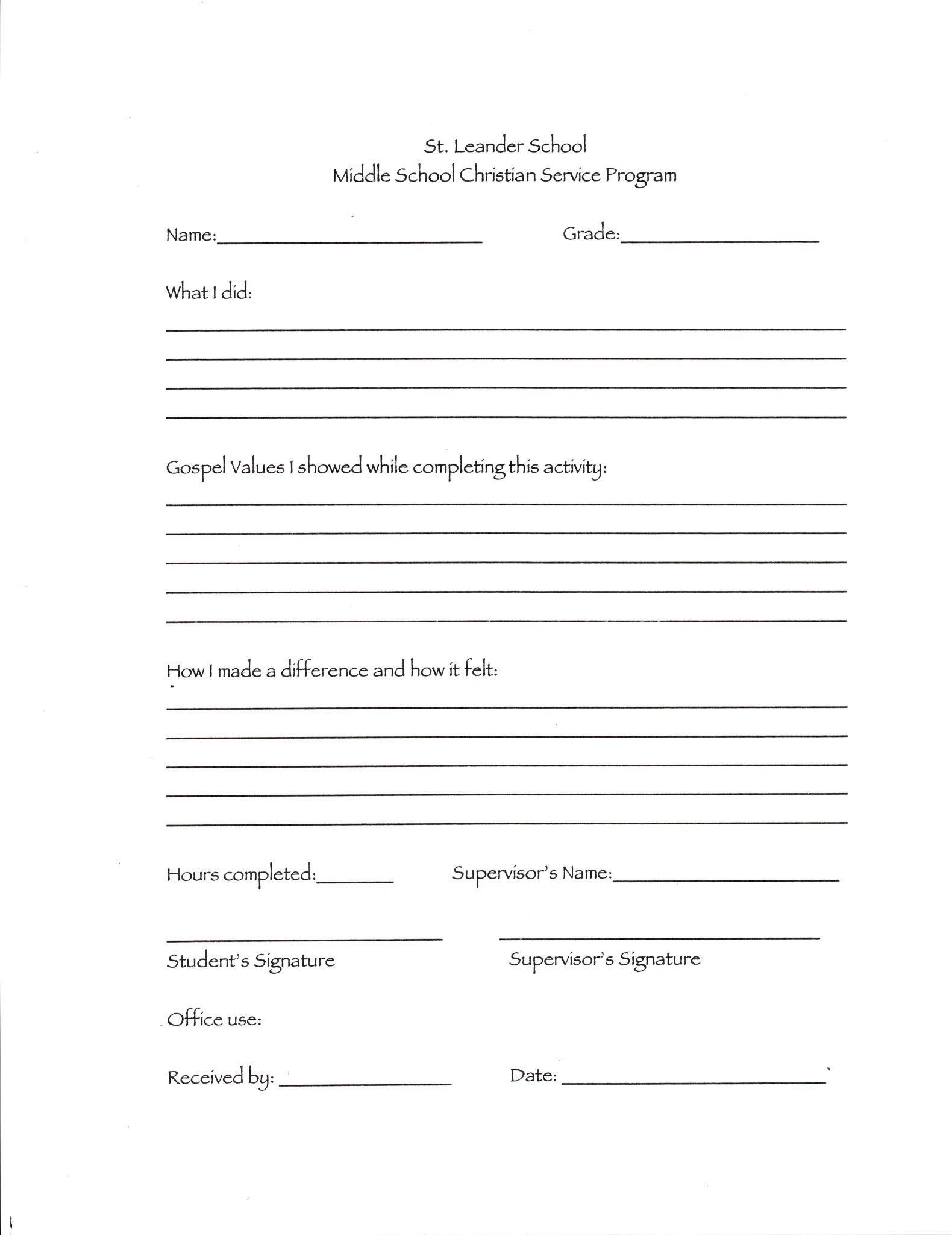 Resume Worksheet For Middle School Students