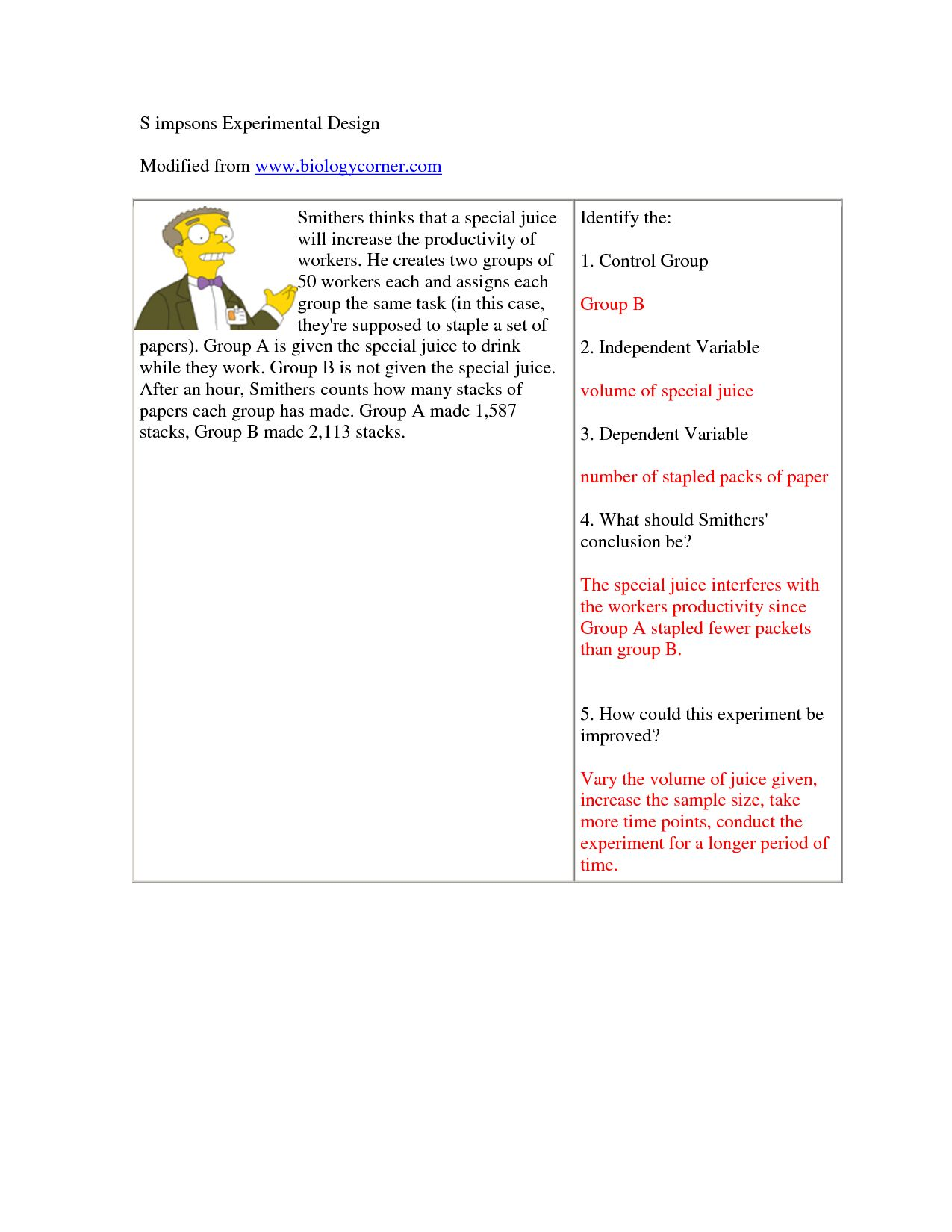 Scientific Method Worksheet Answer Key