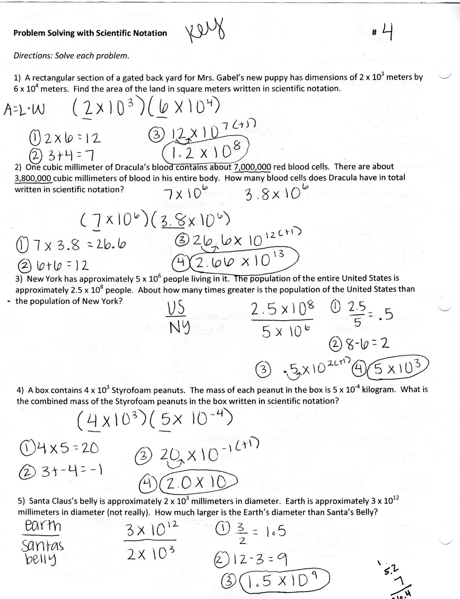 Scientific Notation Word Problems Worksheet
