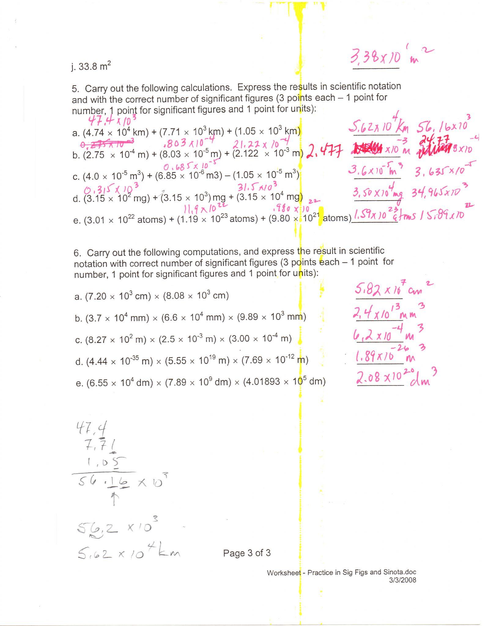 Scientific Notation Worksheet Chemistry